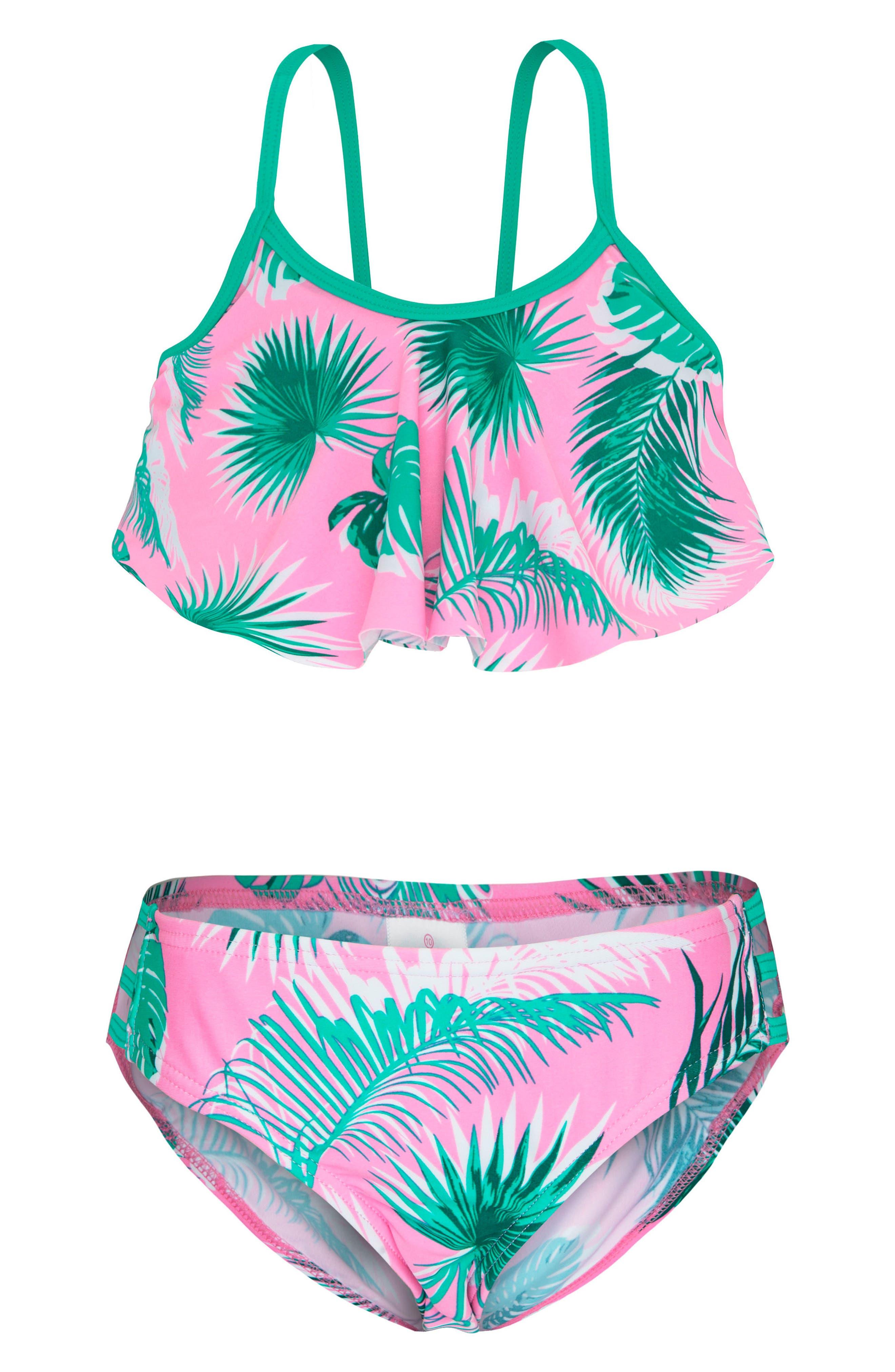 Print Two-Piece Swimsuit,                             Main thumbnail 1, color,                             Botanica