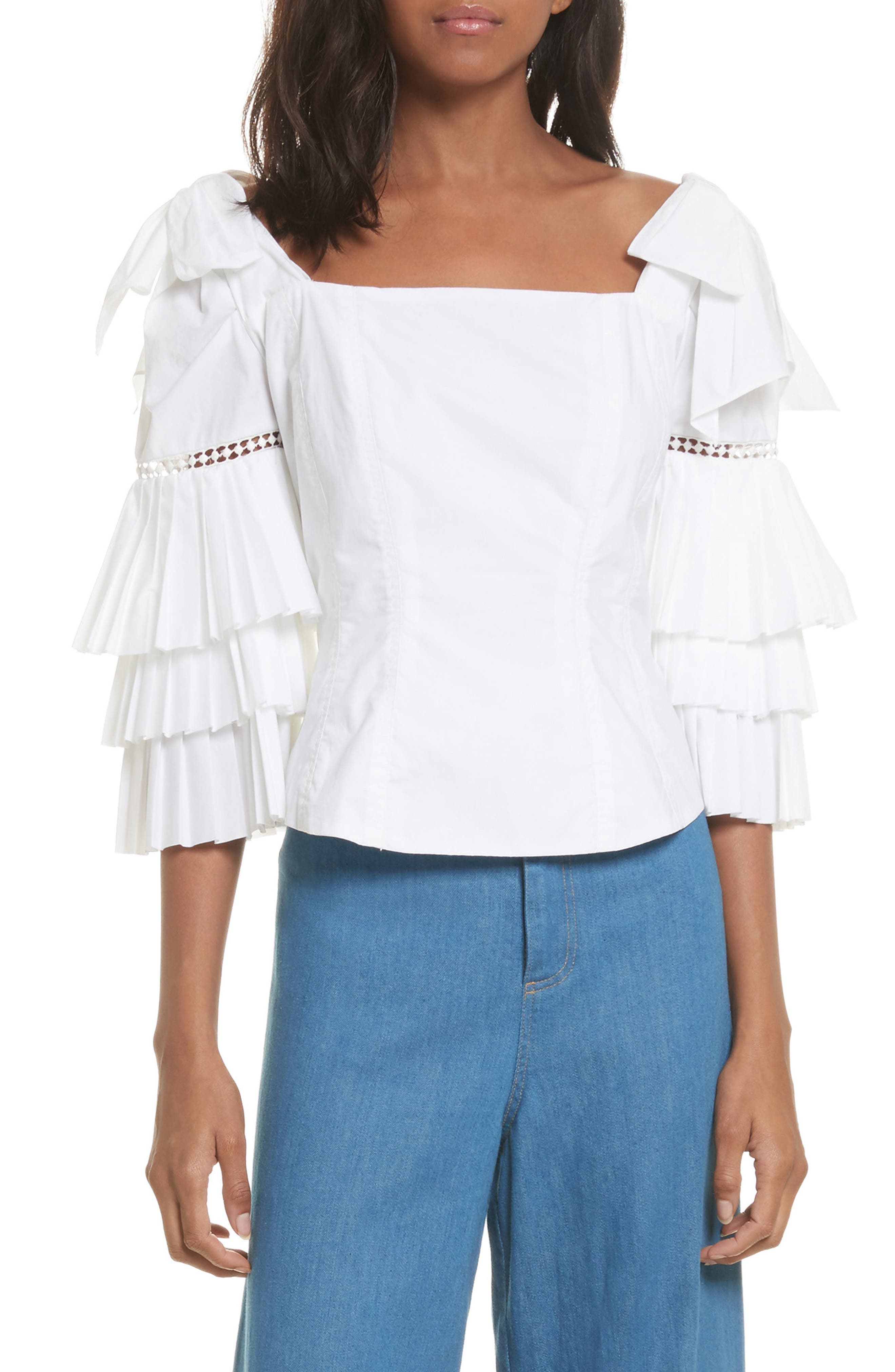 Antoinette Ruffle Sleeve Blouse,                             Main thumbnail 1, color,                             White