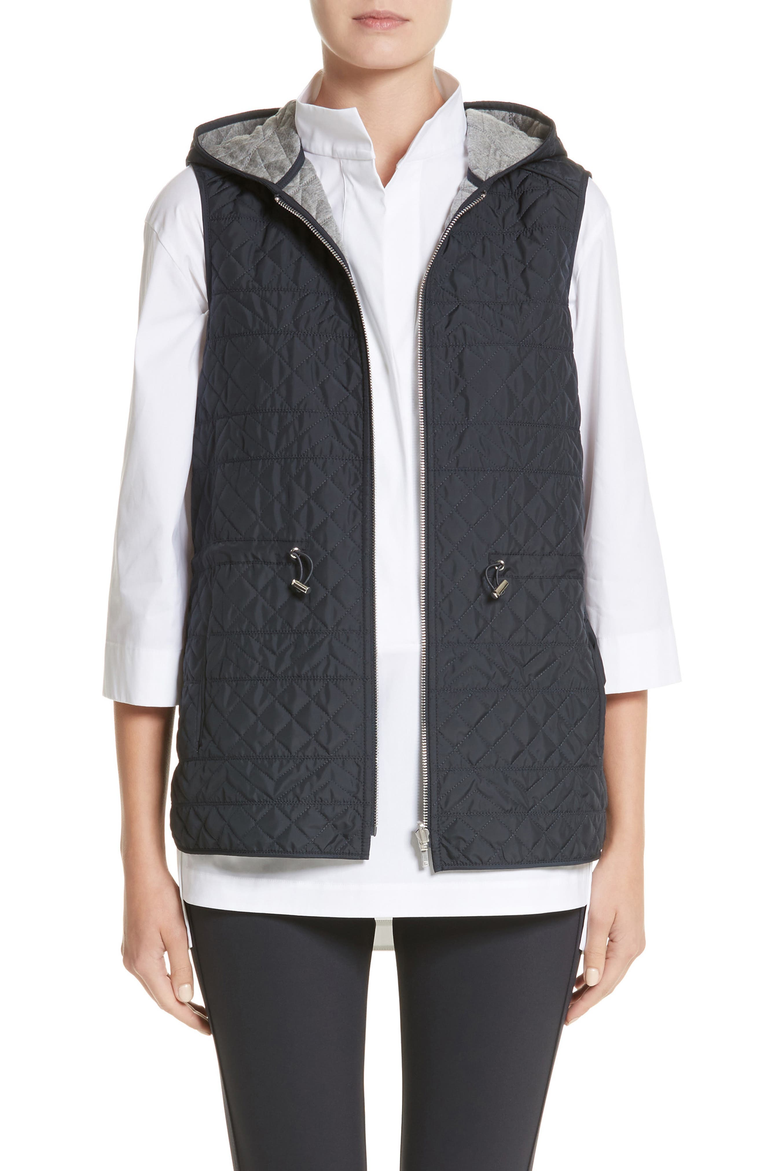 Ginny Reversible Hooded Vest,                         Main,                         color, Ink/ Nickel Melange