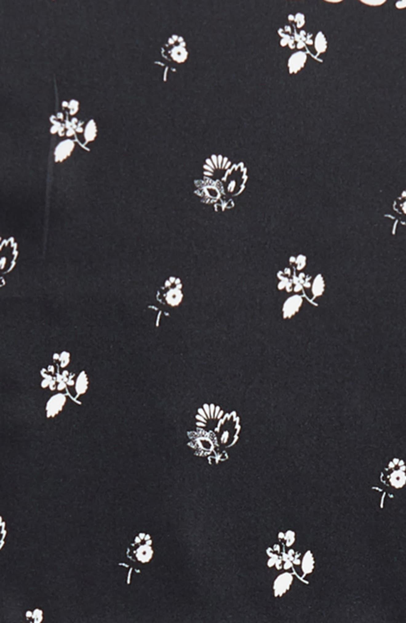 Tossed Florette Square Silk Scarf,                             Alternate thumbnail 4, color,                             Black