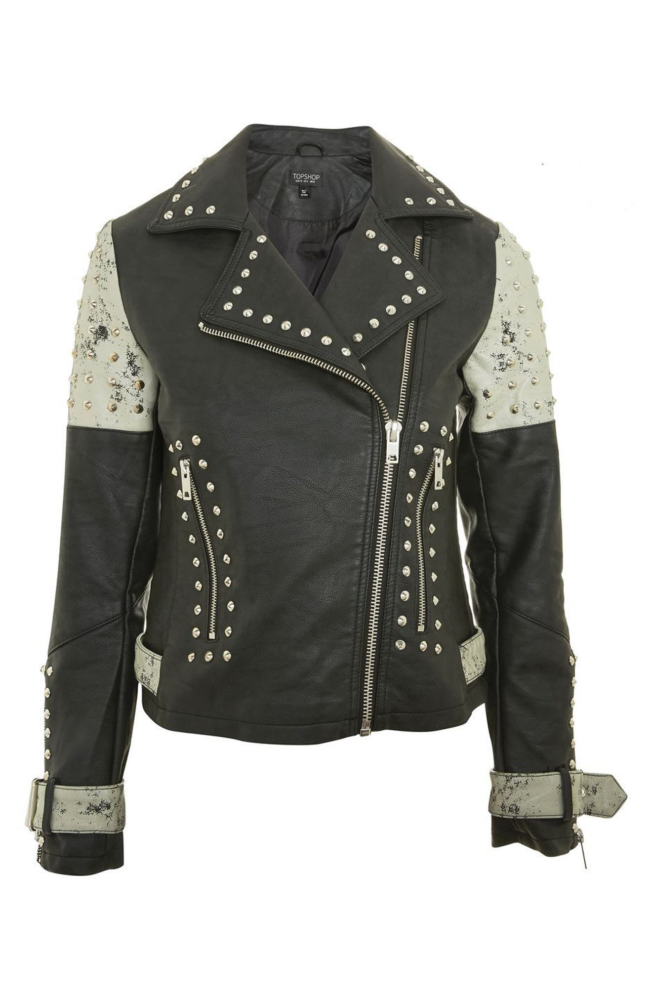 Main Image - Topshop Maddox Painted & Studded Faux Leather Jacket