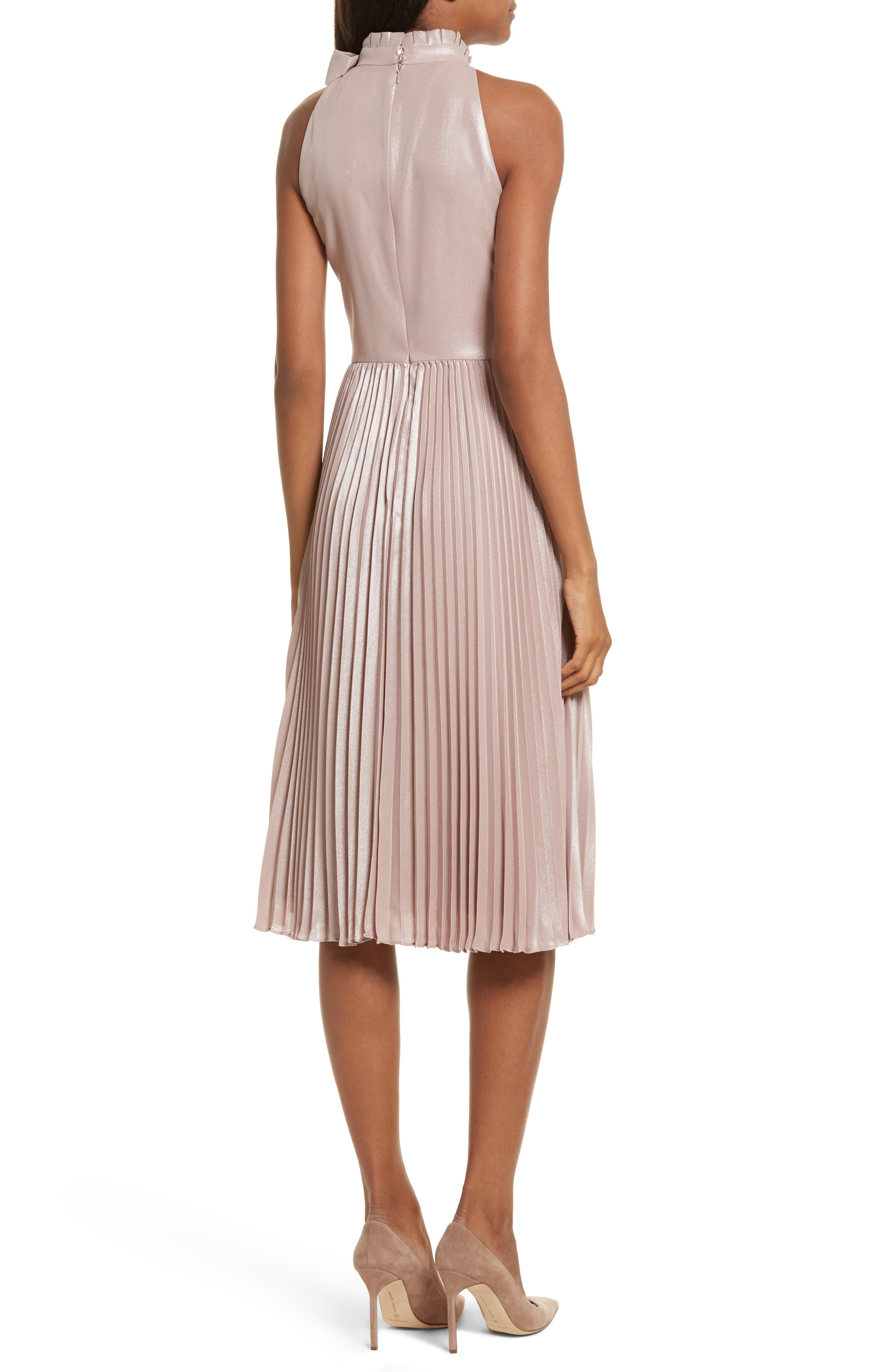 Bow Neck Fit & Flare Dress,                             Alternate thumbnail 2, color,                             Rose Gold