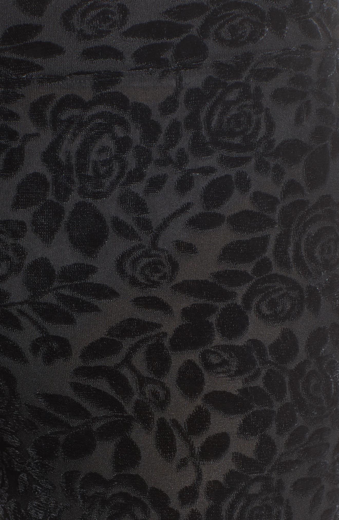 Burnout Floral Leggings,                             Alternate thumbnail 6, color,                             Black