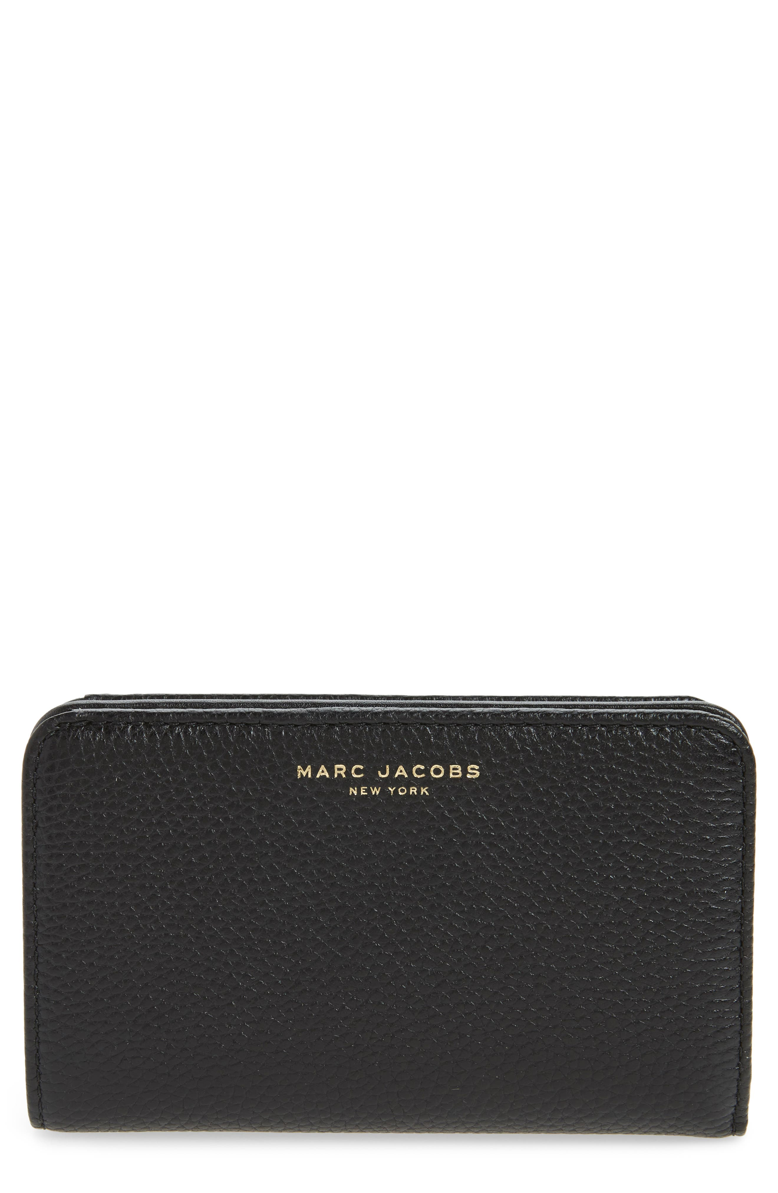 Gotham Compact Leather Wallet,                         Main,                         color, Black/ Gold