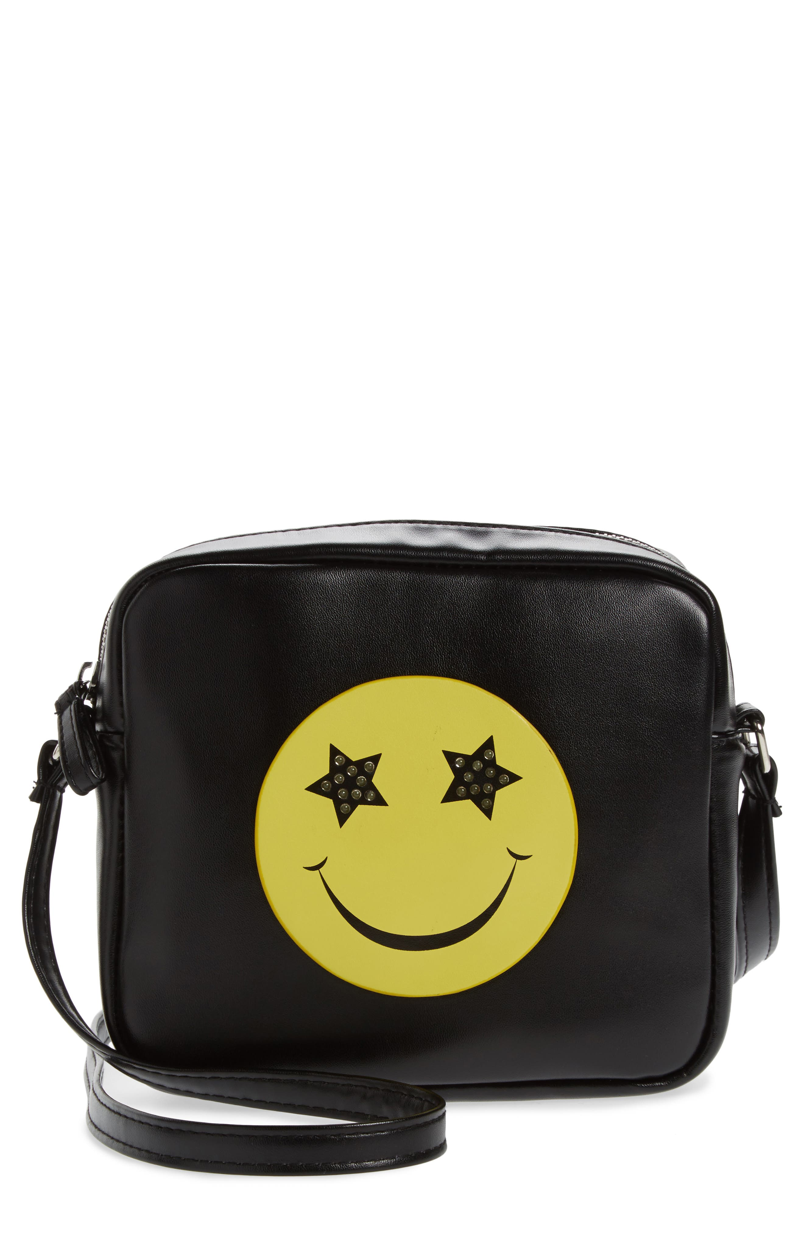 Capelli New York LED Light-Up Smiley Faux Leather Crossbody Bag (Girls)