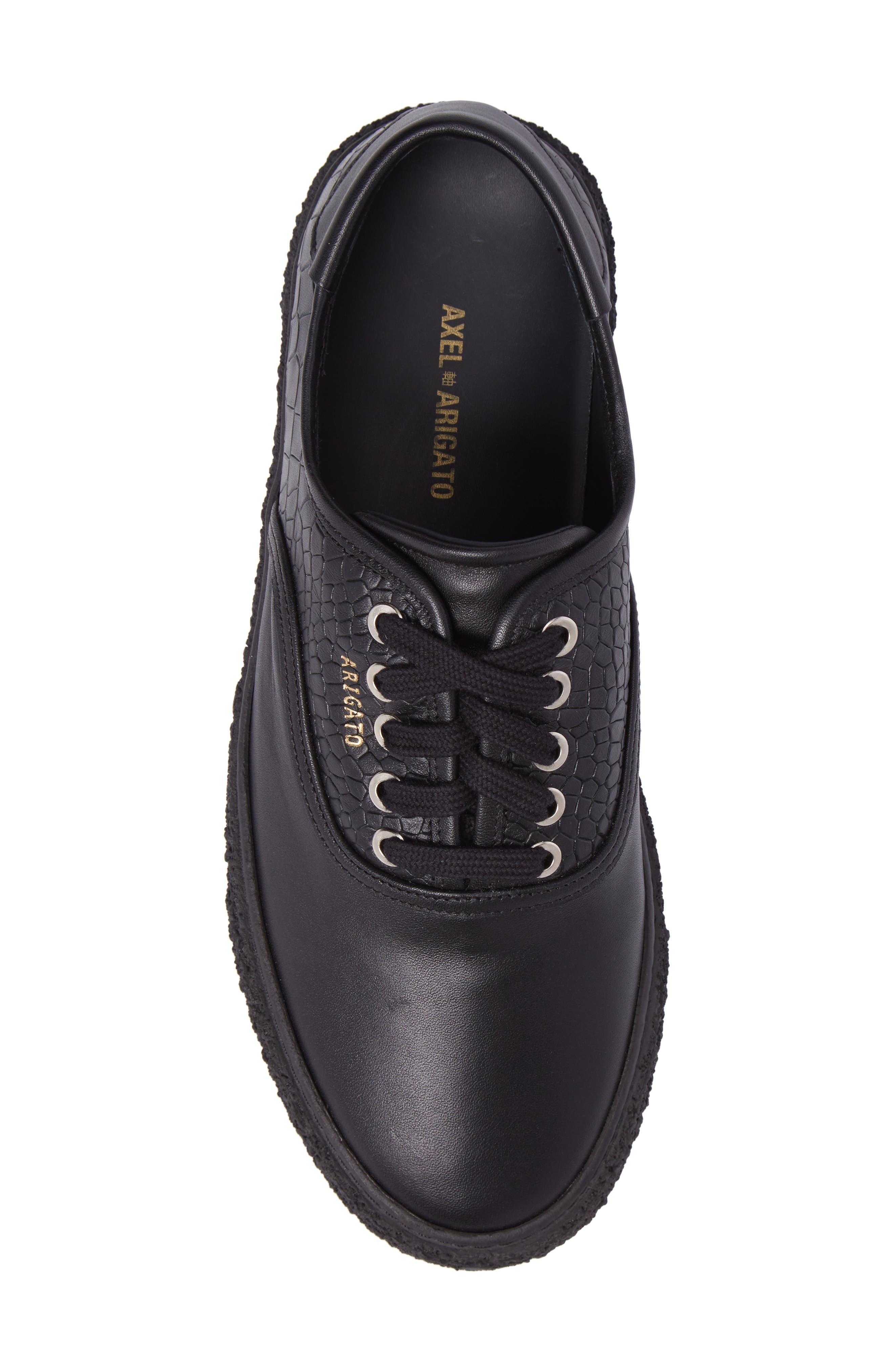 Skate Embossed Sneaker,                             Alternate thumbnail 5, color,                             Black Leather