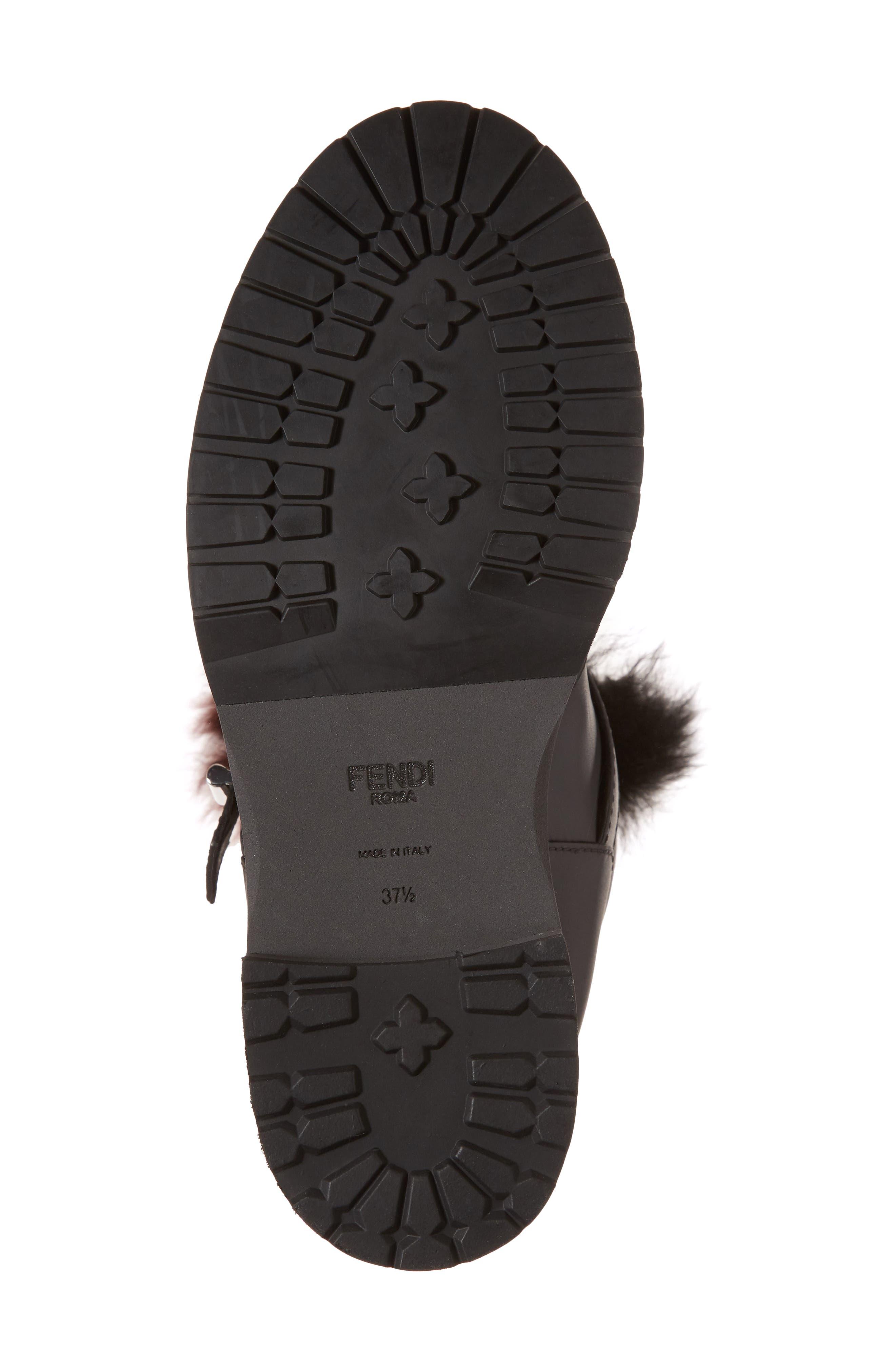 Alternate Image 6  - Fendi Caroline Genuine Alpaca Fur & Genuine Shearling Engineer Boot (Women)