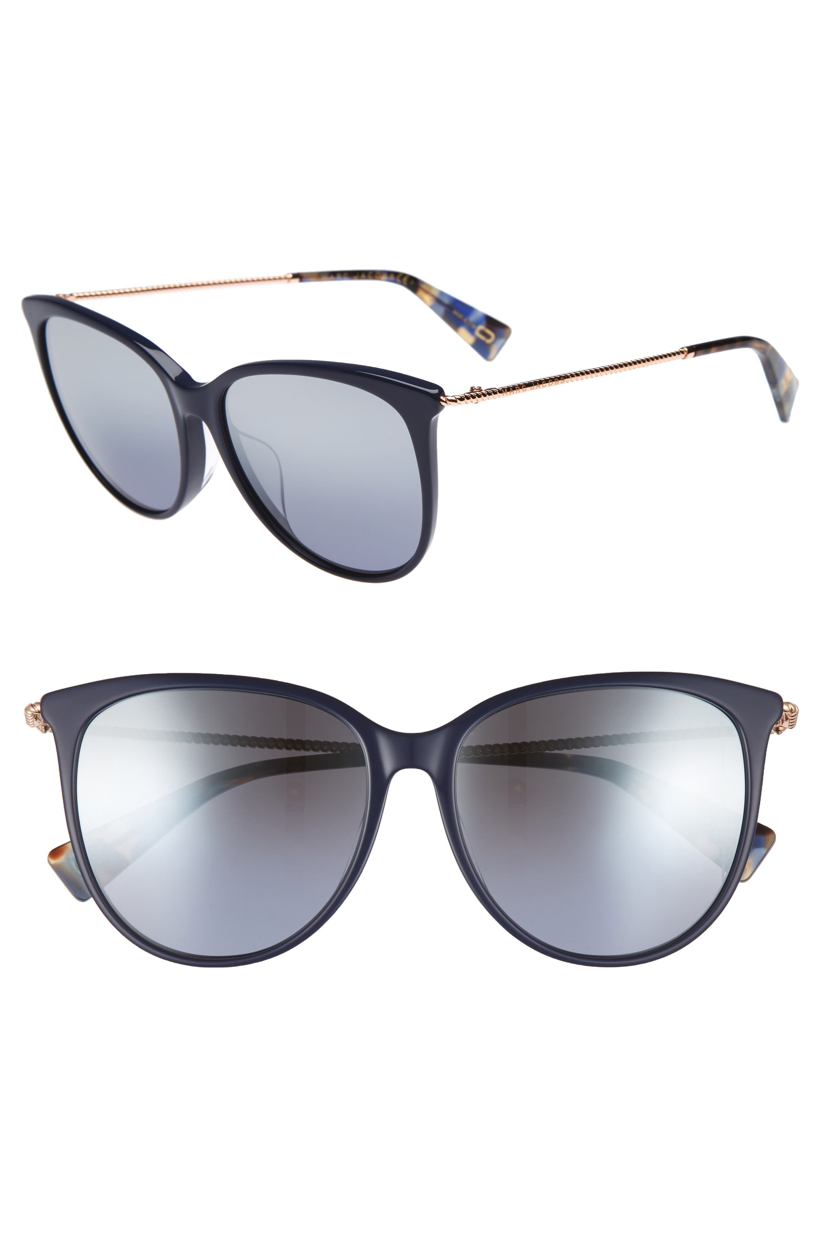56mm Cat Eye Sunglasses,                             Main thumbnail 1, color,                             Blue