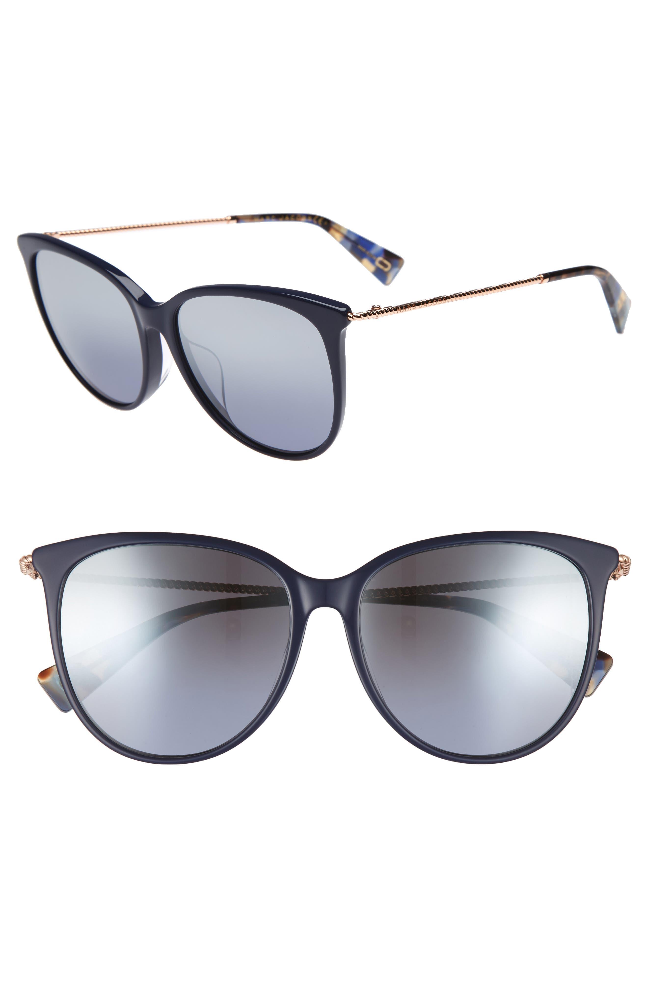 56mm Cat Eye Sunglasses,                         Main,                         color, Blue