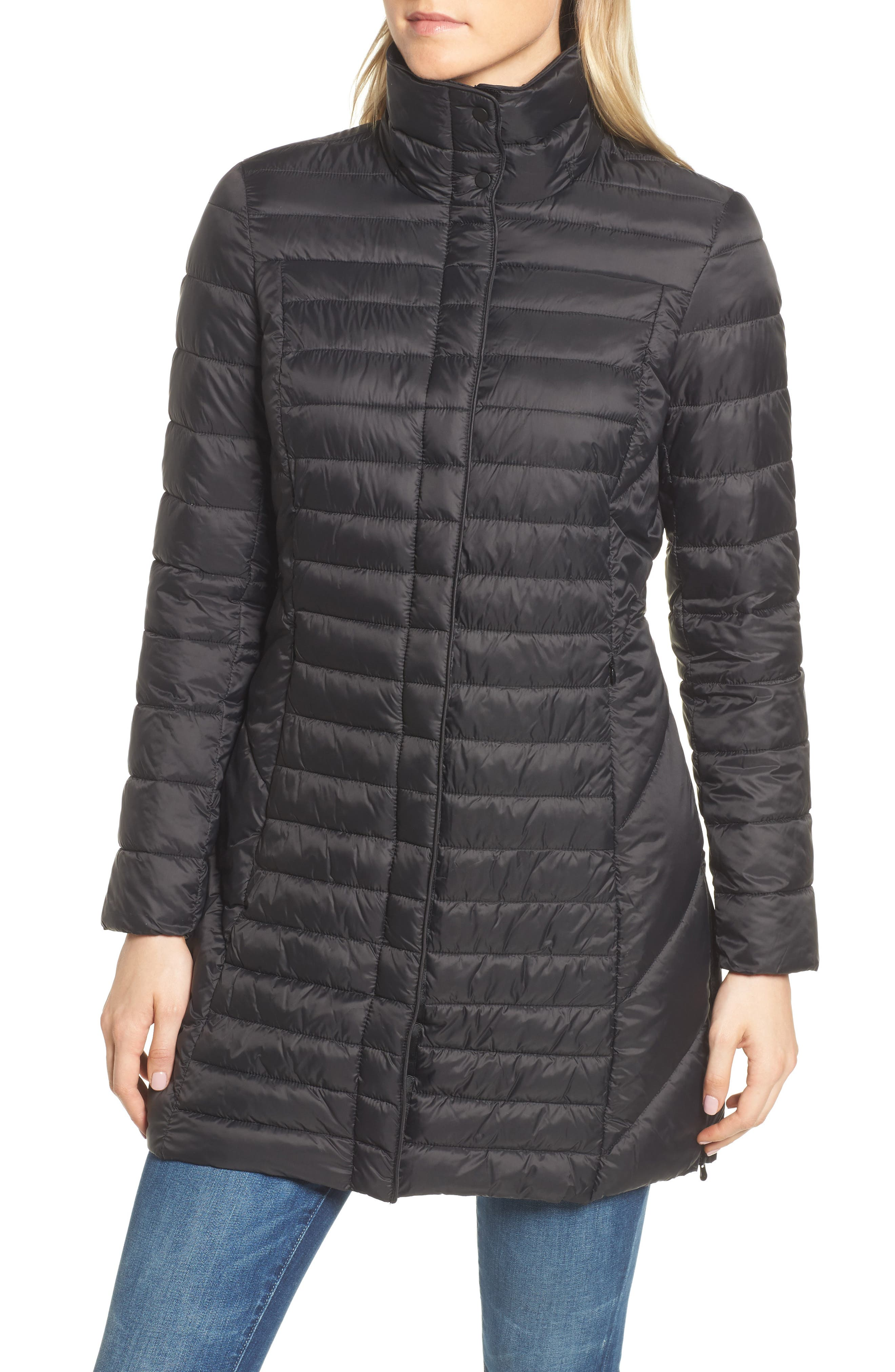 Lightweight Quilted Puffer Coat,                             Alternate thumbnail 6, color,                             Black
