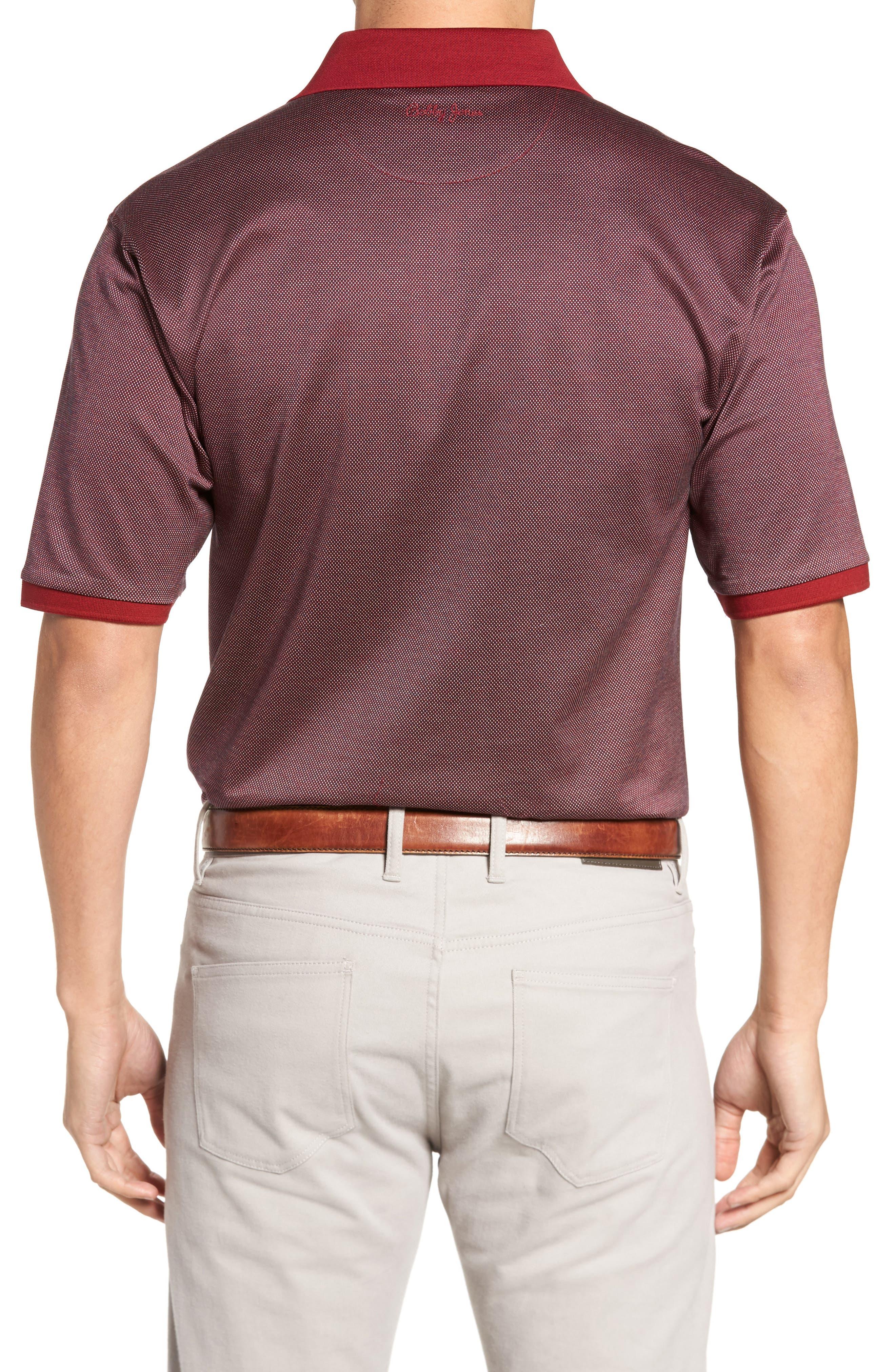 Verde Jacquard Mercerized Cotton Polo,                             Alternate thumbnail 2, color,                             Brick Red