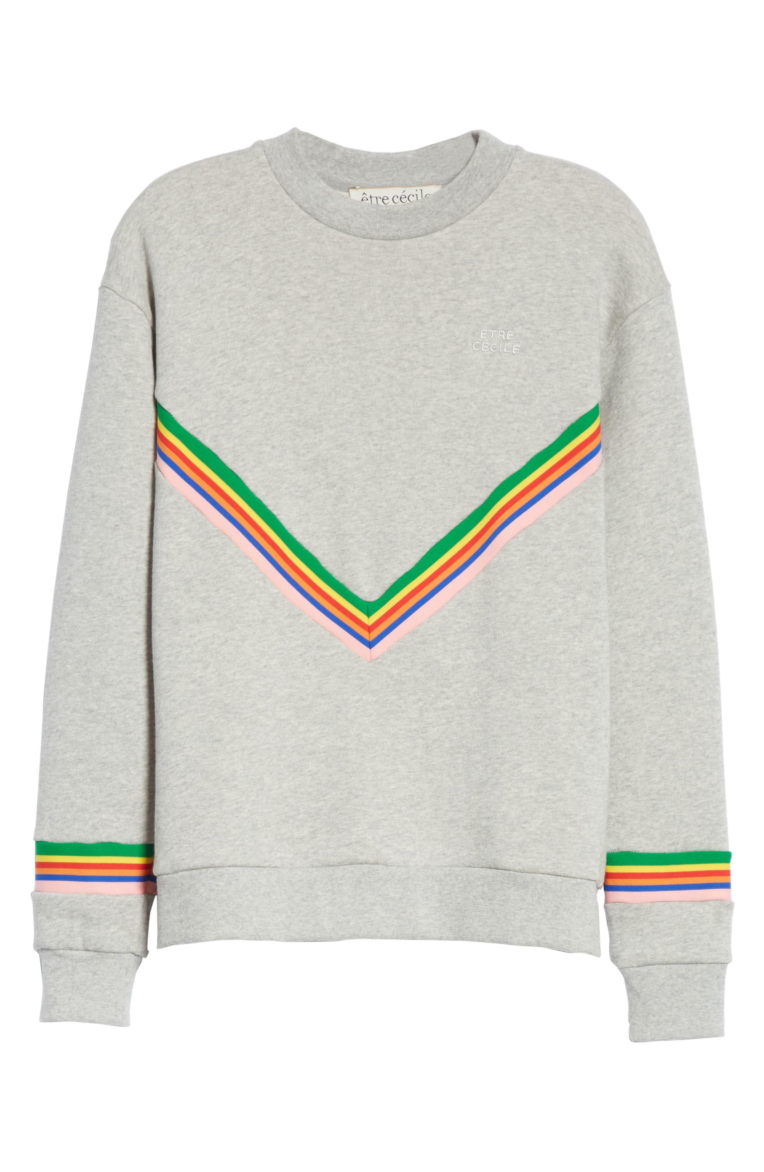 être cécile Rainbow Cotton Boyfriend Sweatshirt,                             Alternate thumbnail 7, color,                             Grey Marl