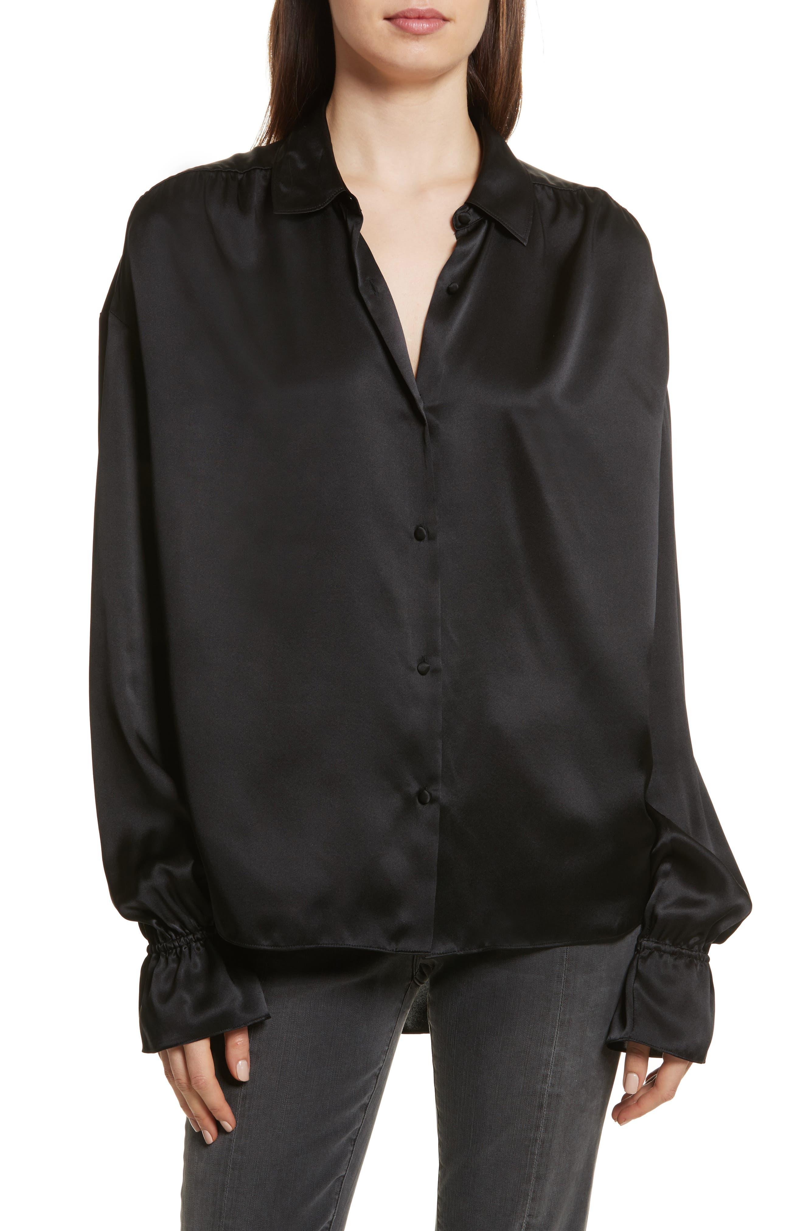 Flare Cuff Solid Silk Shirt,                         Main,                         color, Noir