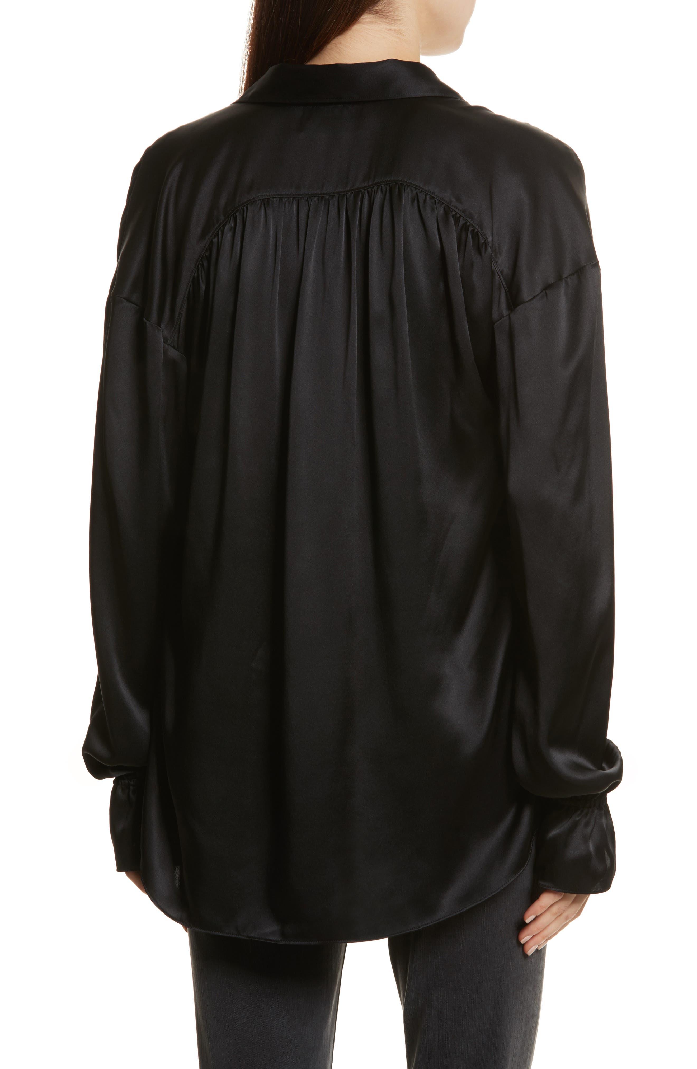 Alternate Image 2  - FRAME Flare Cuff Solid Silk Shirt
