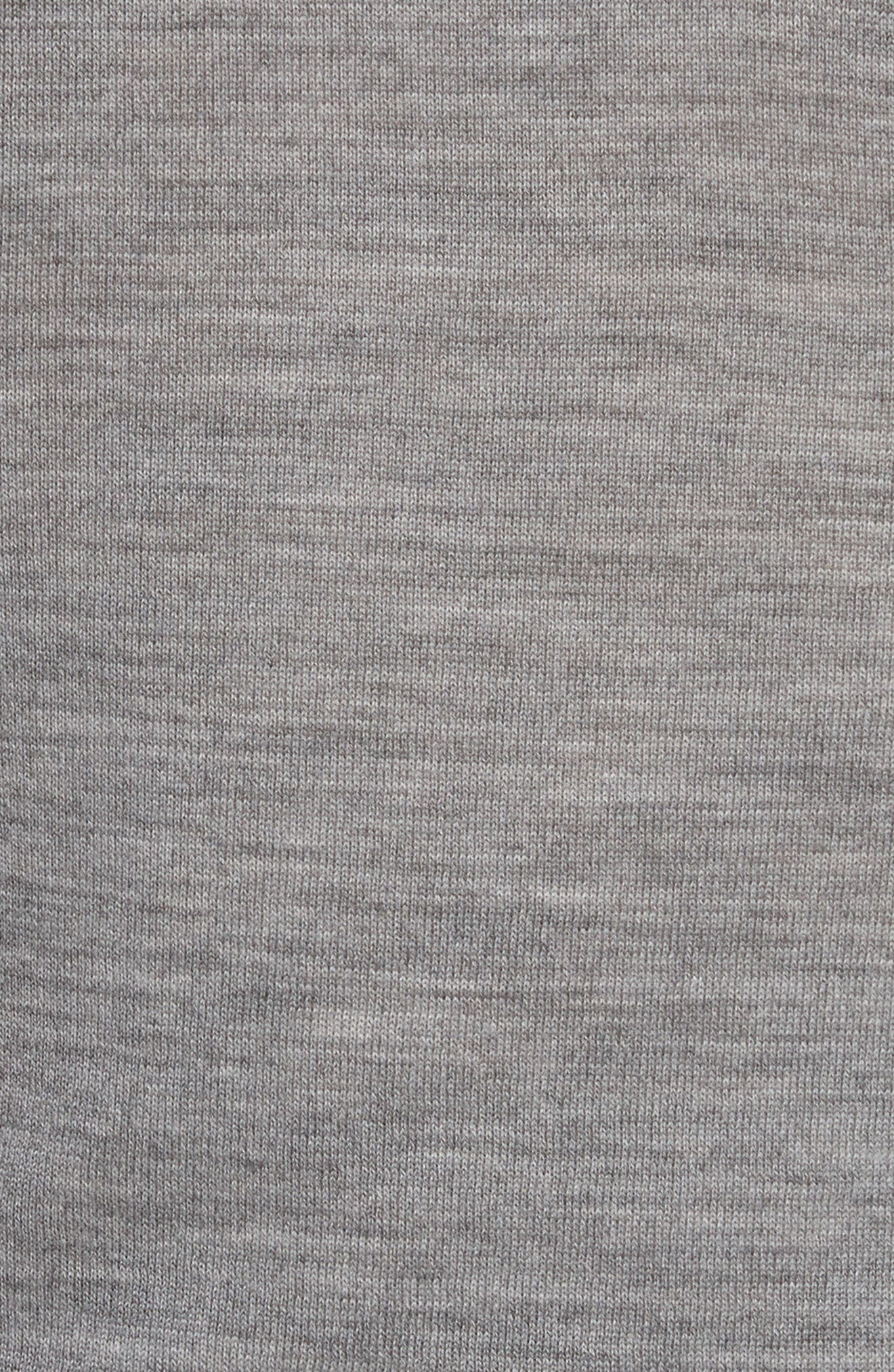 Knit Merino Wool Layered Top,                             Alternate thumbnail 5, color,                             Heather Grey/ White