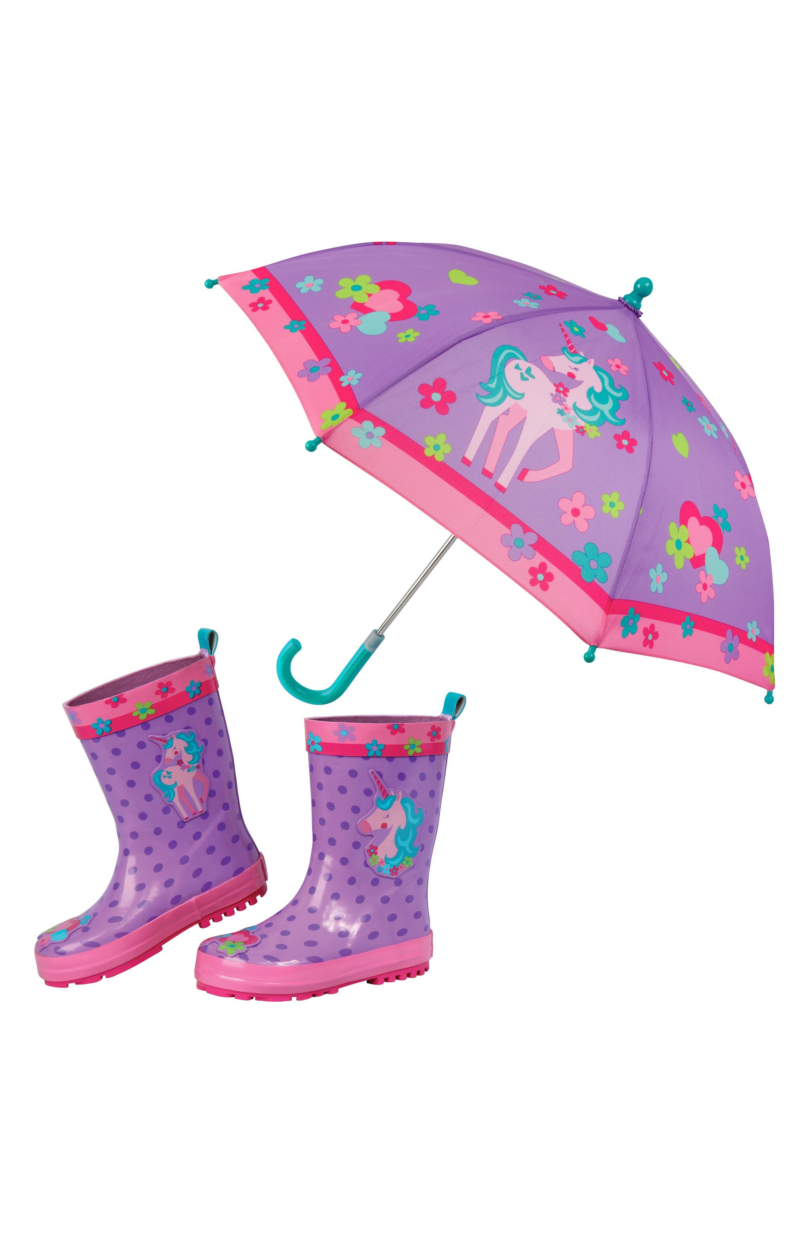 Stephen Joseph Unicorn Rain Boots & Umbrella Set (Little Girls & Big Girls)