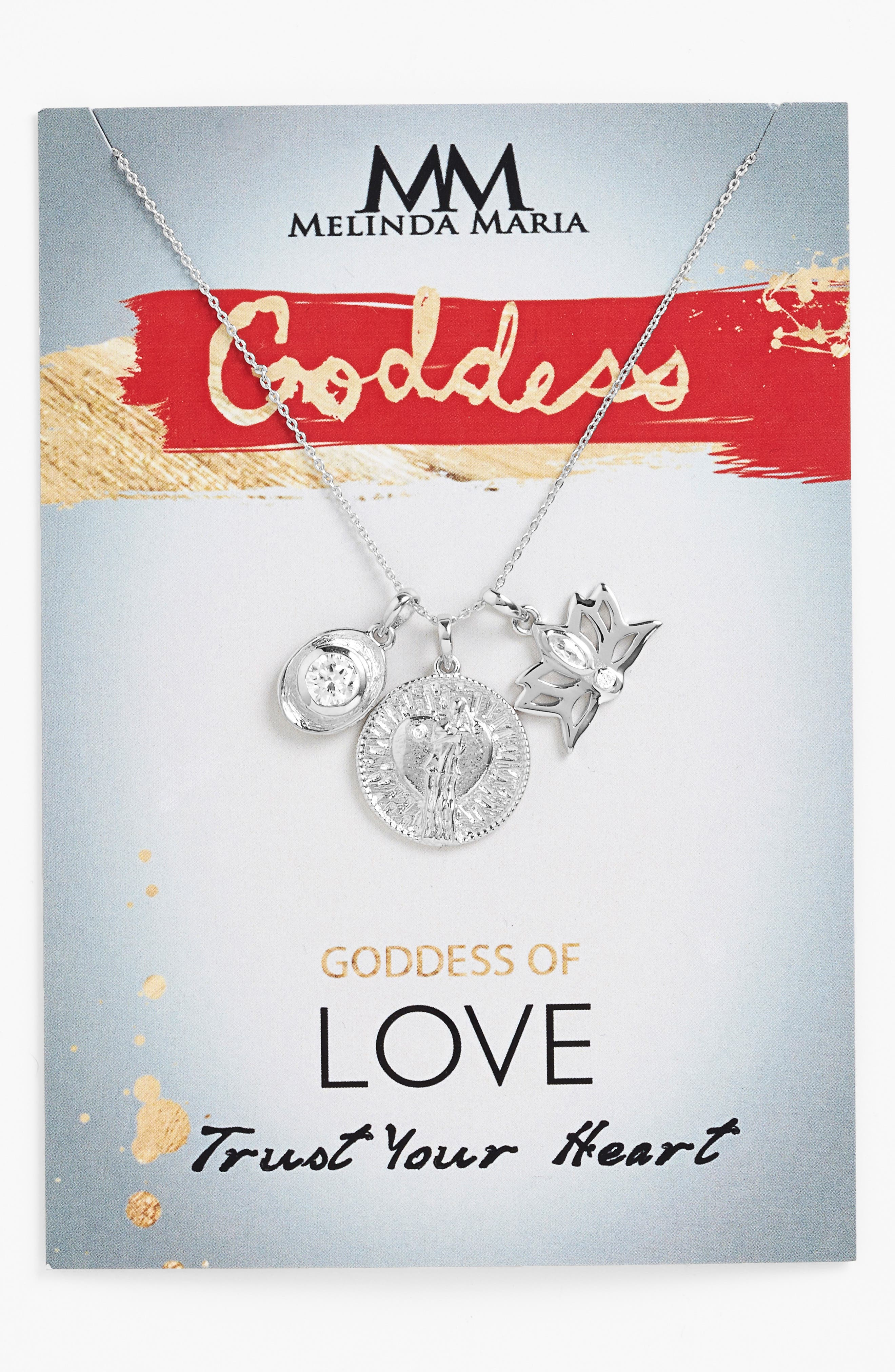 Goddess of Love Pendant Necklace,                             Alternate thumbnail 3, color,                             White Cz/ Silver