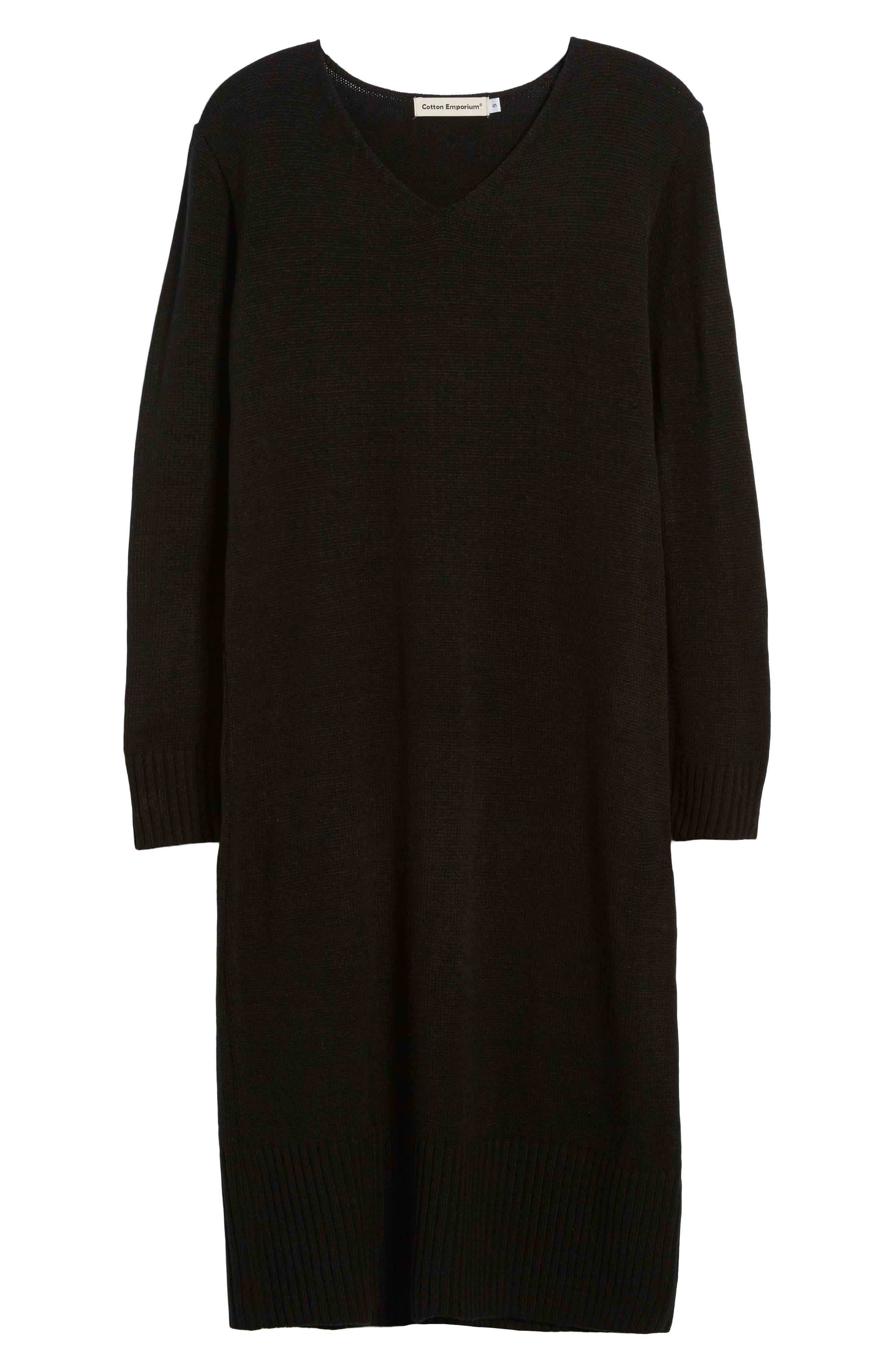 Sweater Dress,                             Alternate thumbnail 6, color,                             Black
