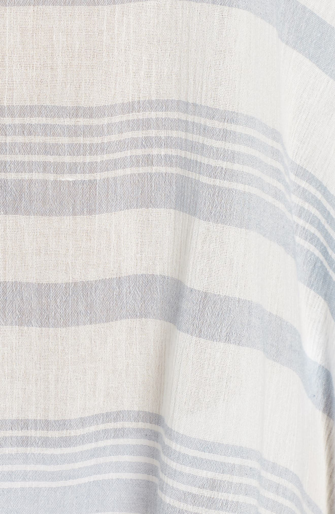 Stripe Poncho Cover-Up,                             Alternate thumbnail 5, color,                             Dusty Blue Stripe