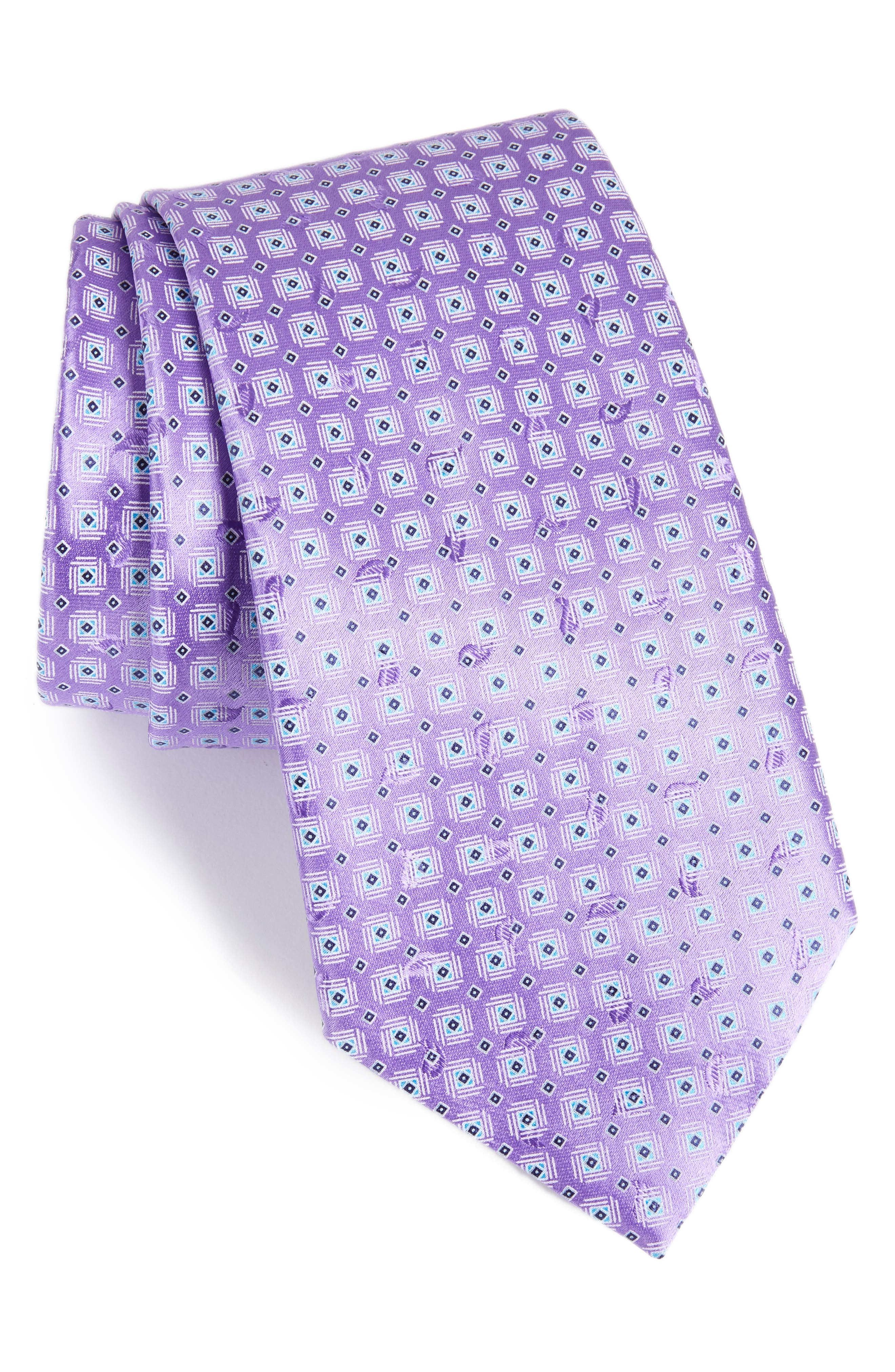 Neat Geometric Silk Tie,                             Main thumbnail 1, color,                             Purple