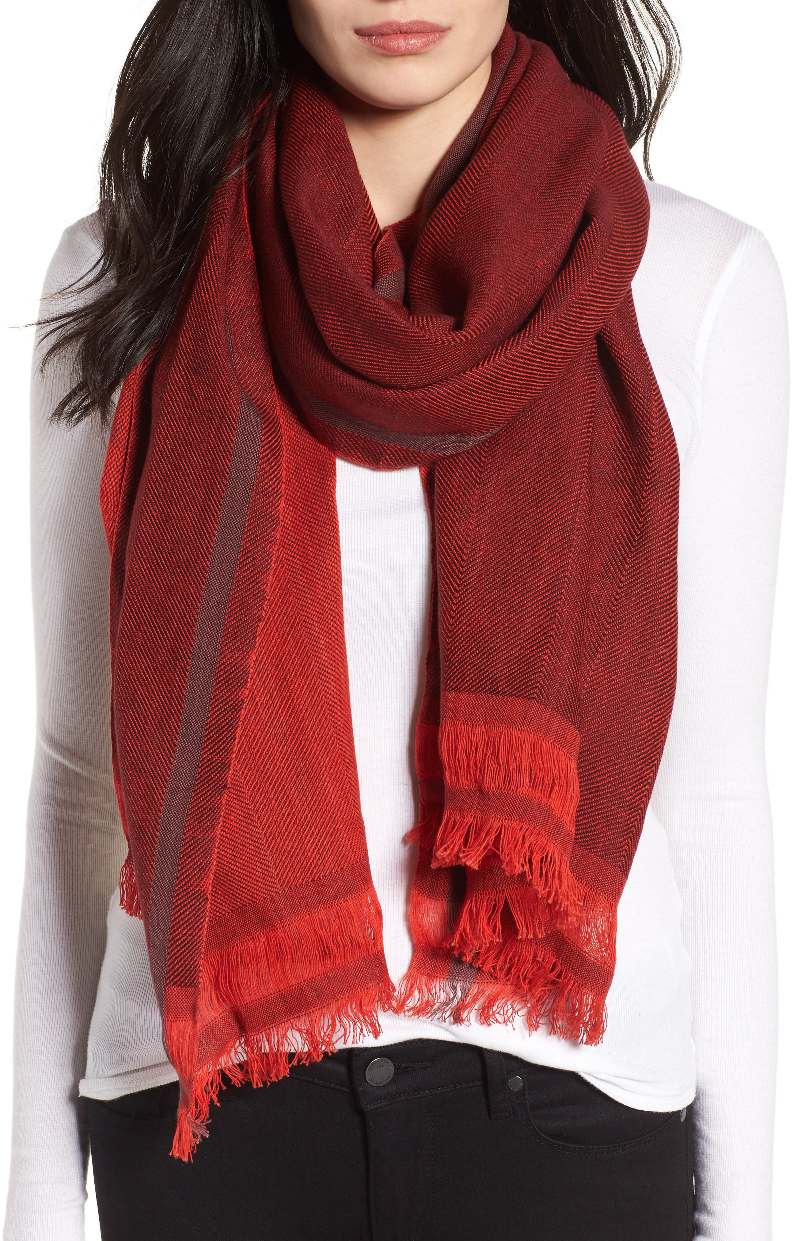 Alternate Image 1 Selected - Eileen Fisher Woven Stripe Scarf