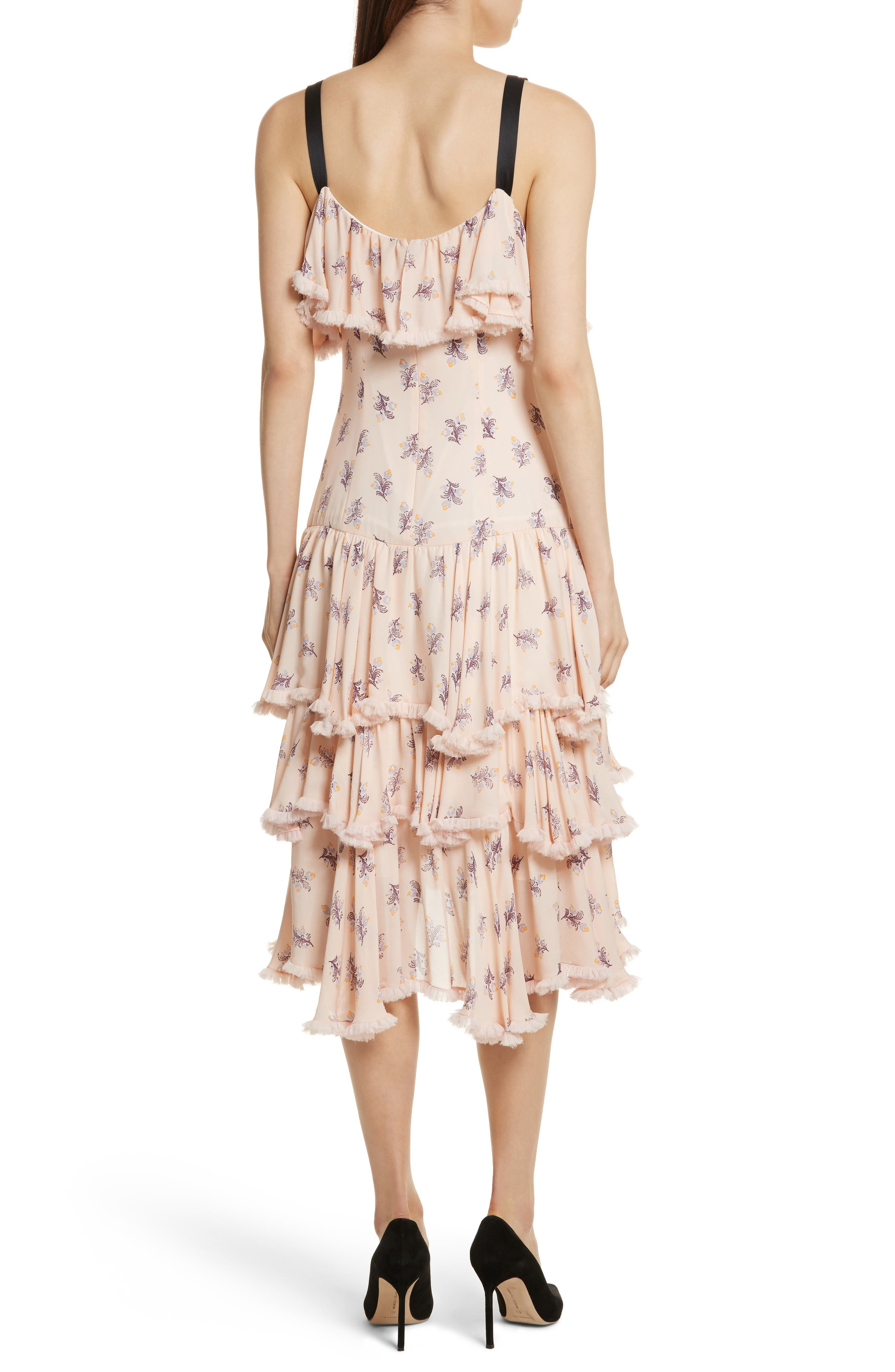 Edie Floral Print Tiered Silk Dress,                             Alternate thumbnail 2, color,                             Pearl Blush Multi