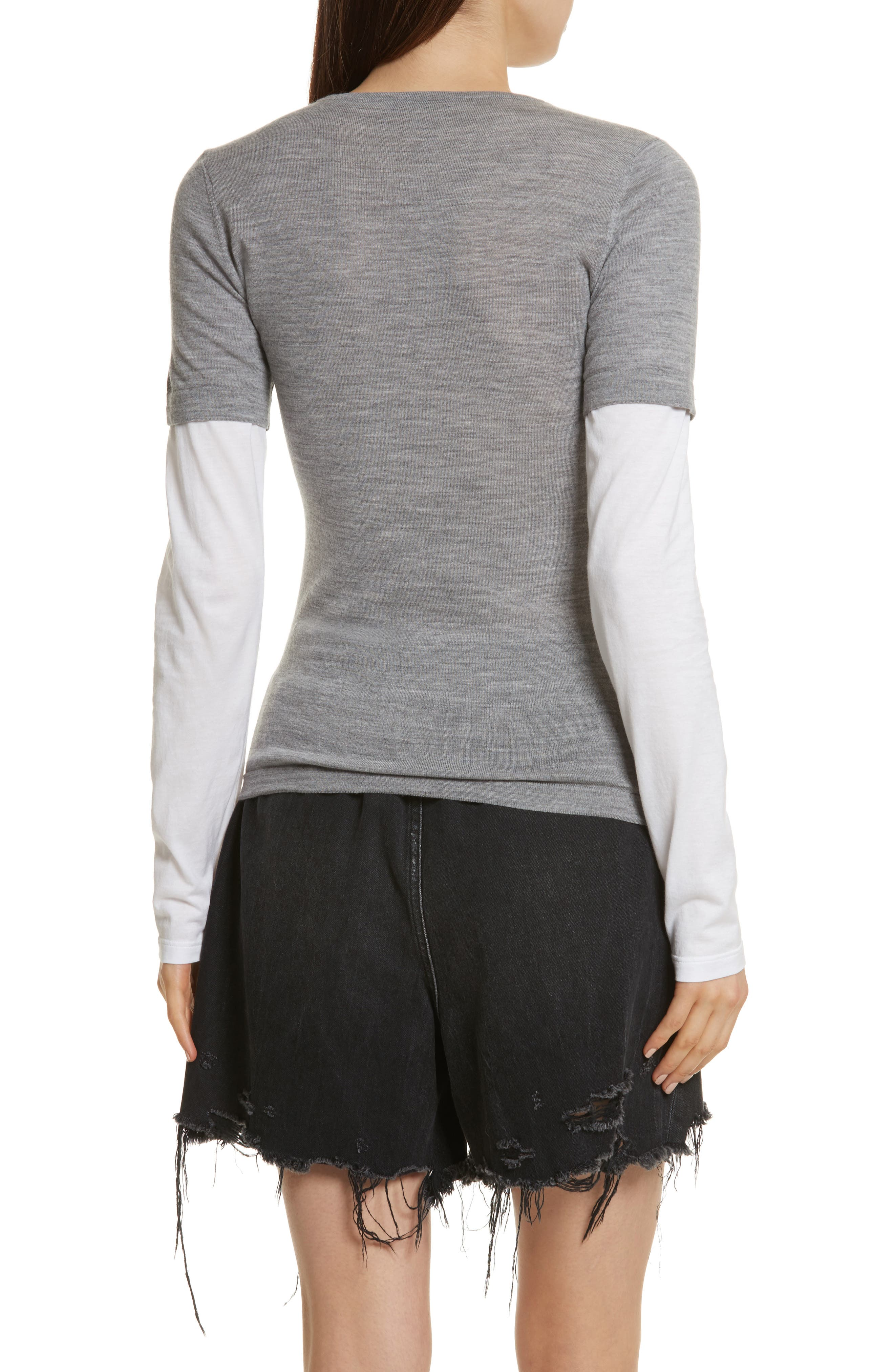 Alternate Image 2  - T by Alexander Wang Knit Merino Wool Layered Top