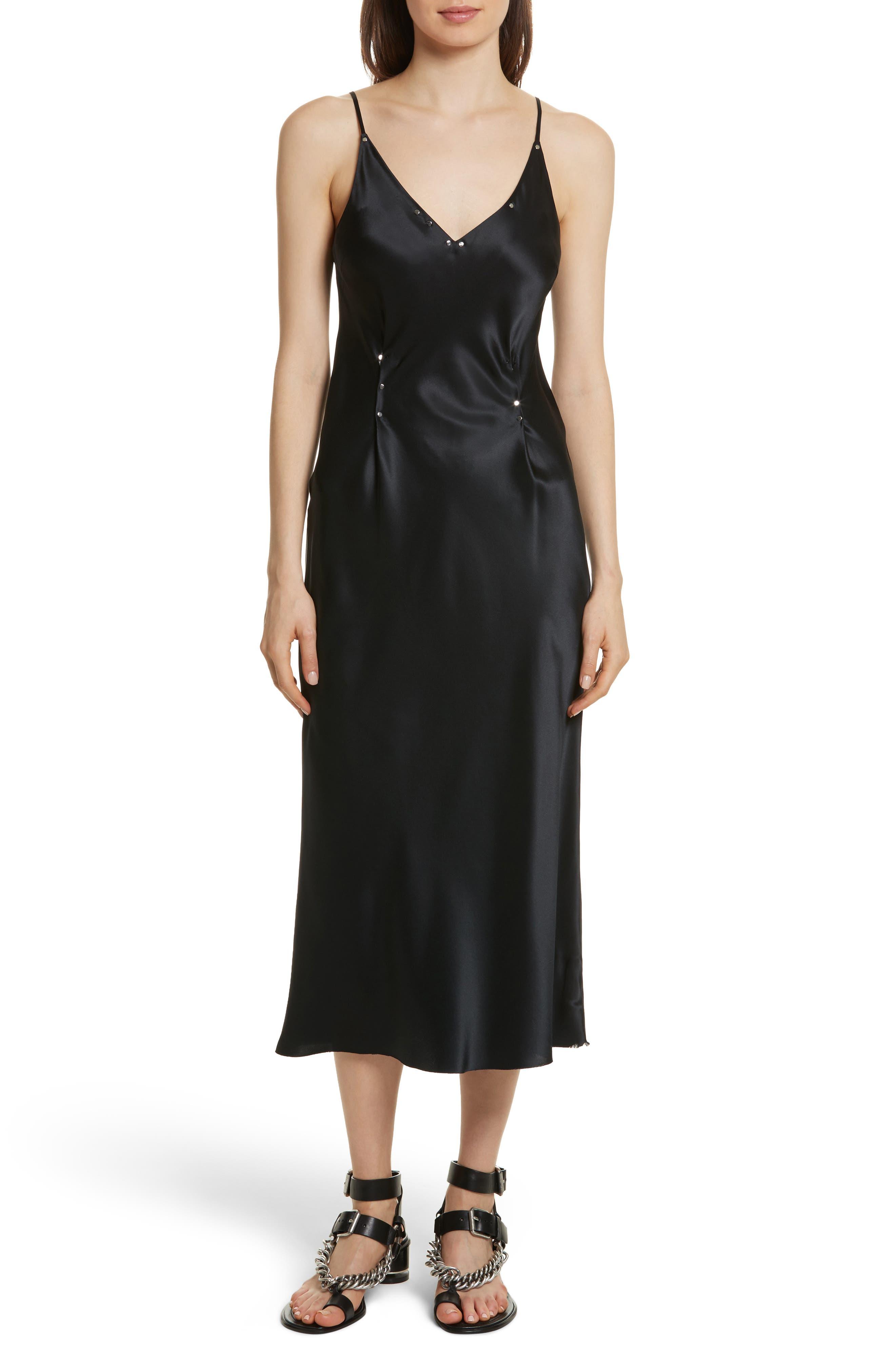 Silk Charmeuse Slipdress,                         Main,                         color, Black