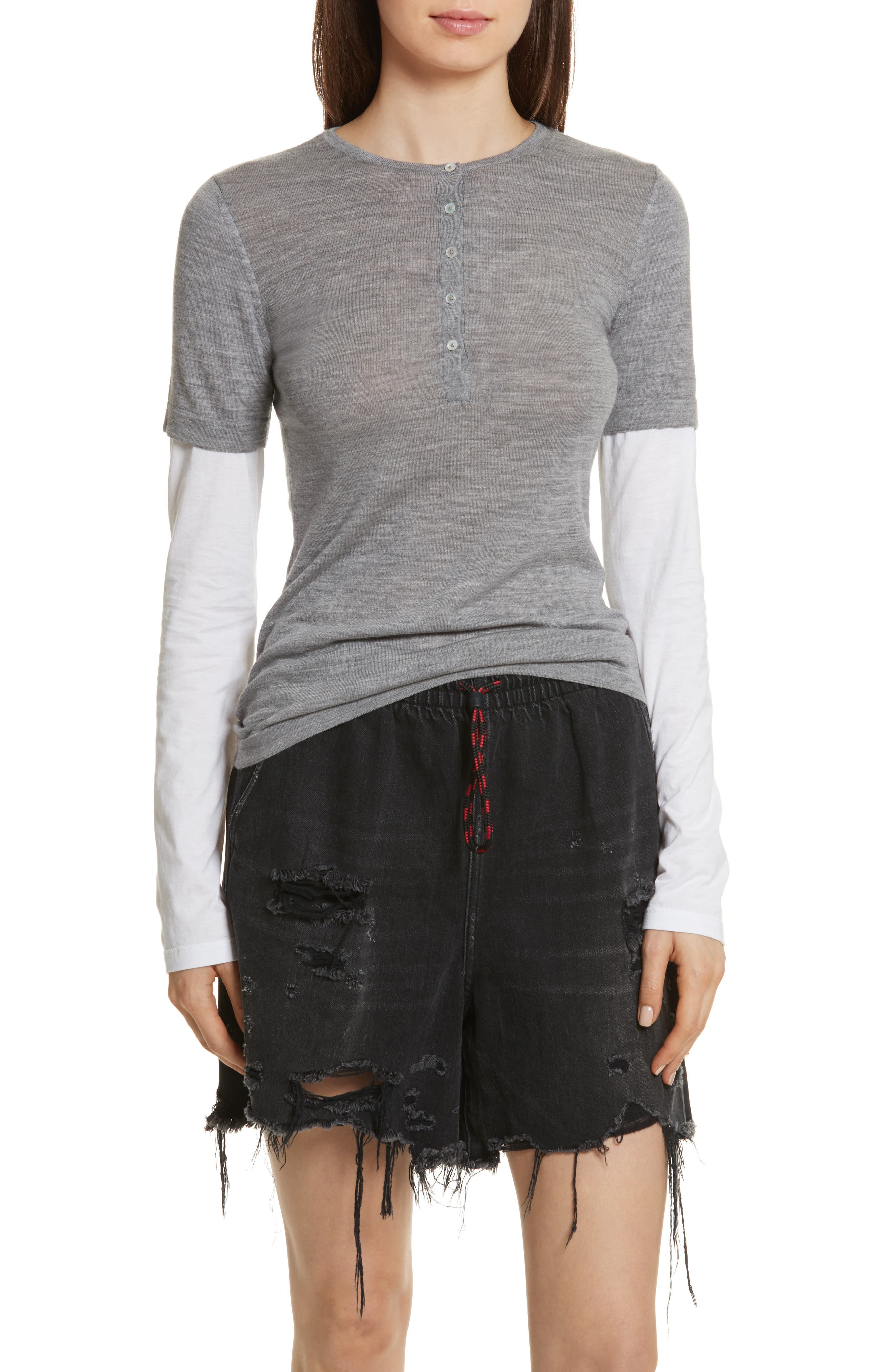 Knit Merino Wool Layered Top,                         Main,                         color, Heather Grey/ White