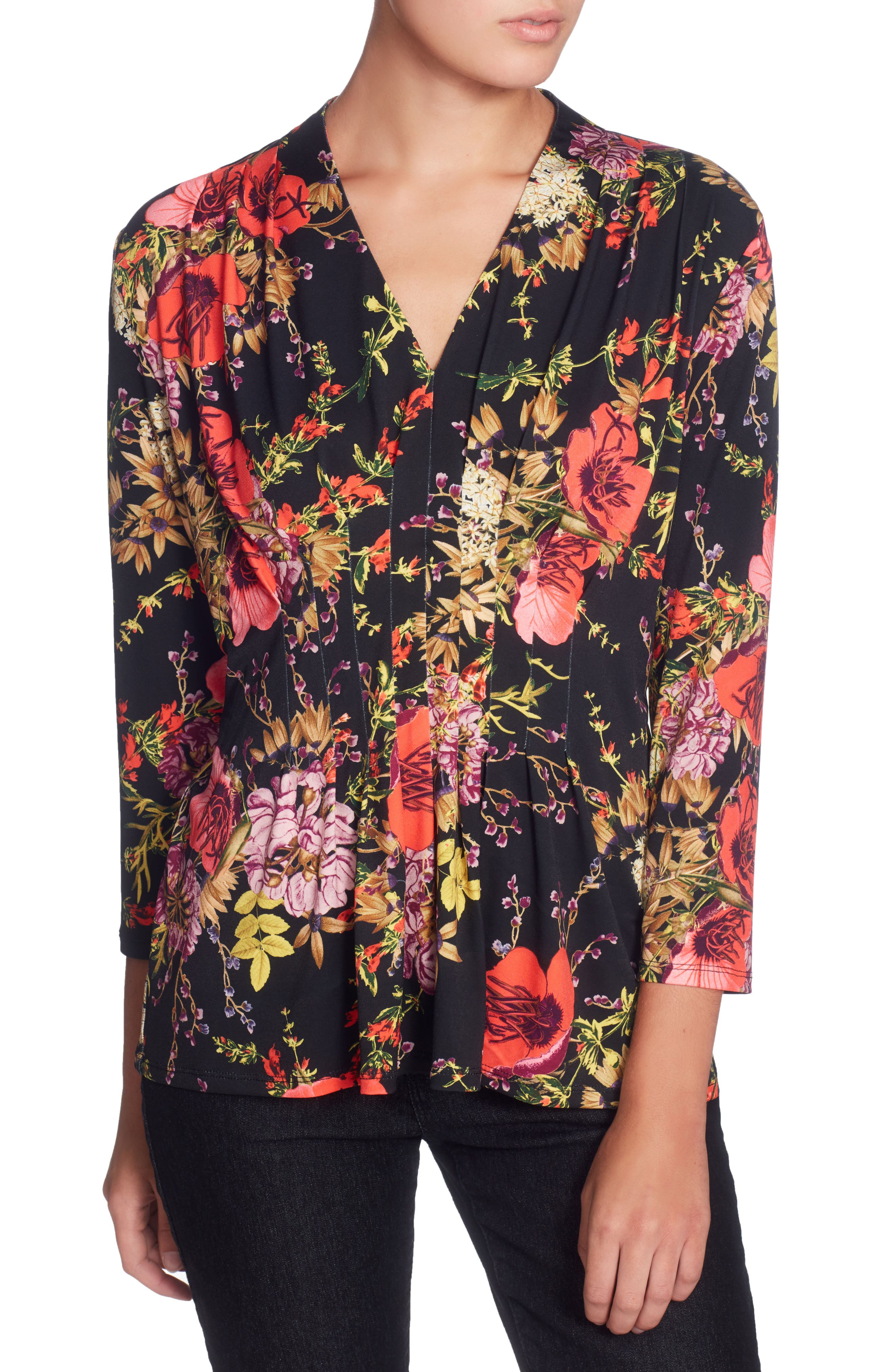 Rea Floral Print Top,                             Main thumbnail 1, color,                             Ethereal Garden Black