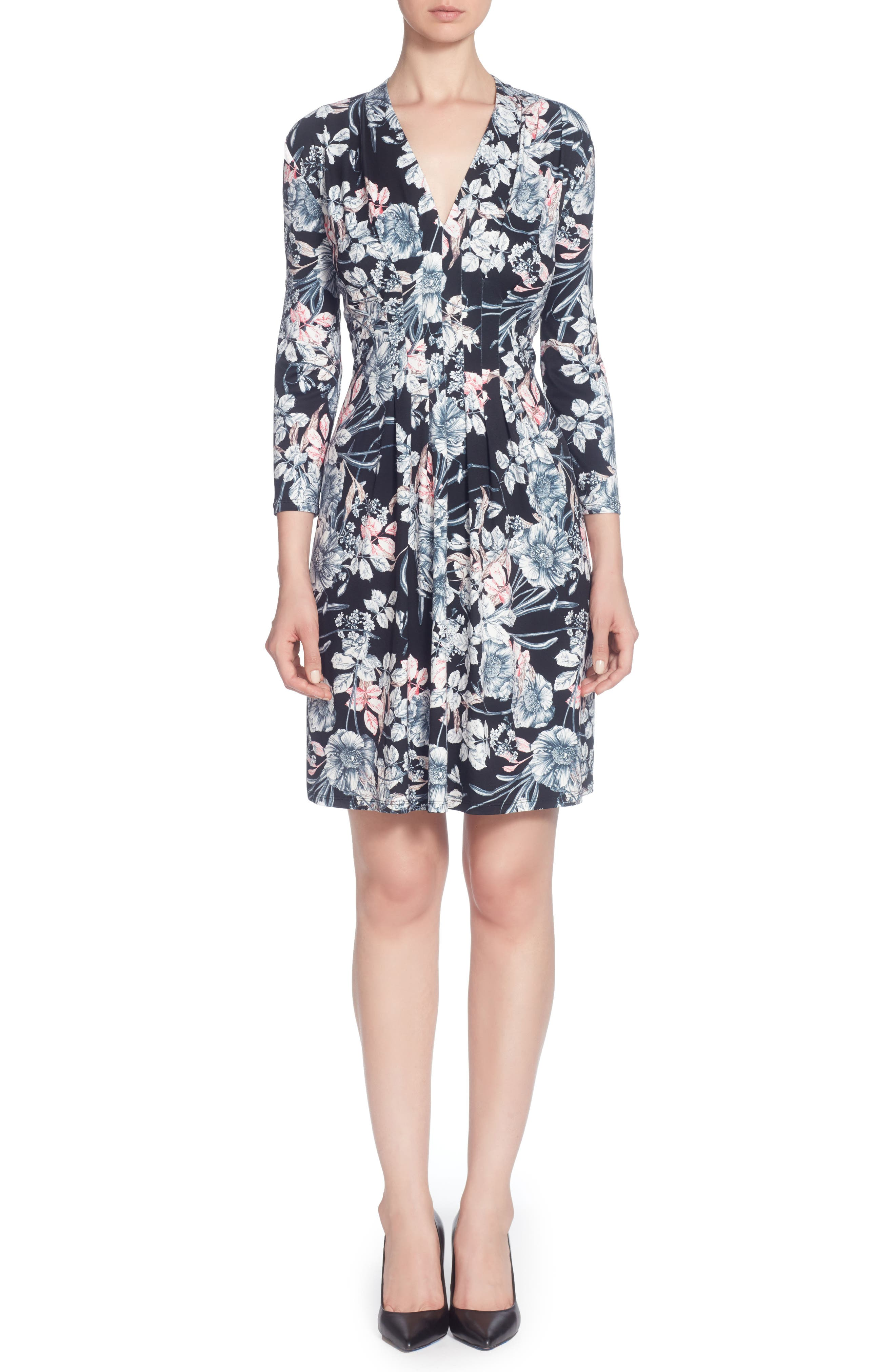 Tinka Print Jersey V-Neck Fit & Flare Dress,                         Main,                         color, French Floral Black
