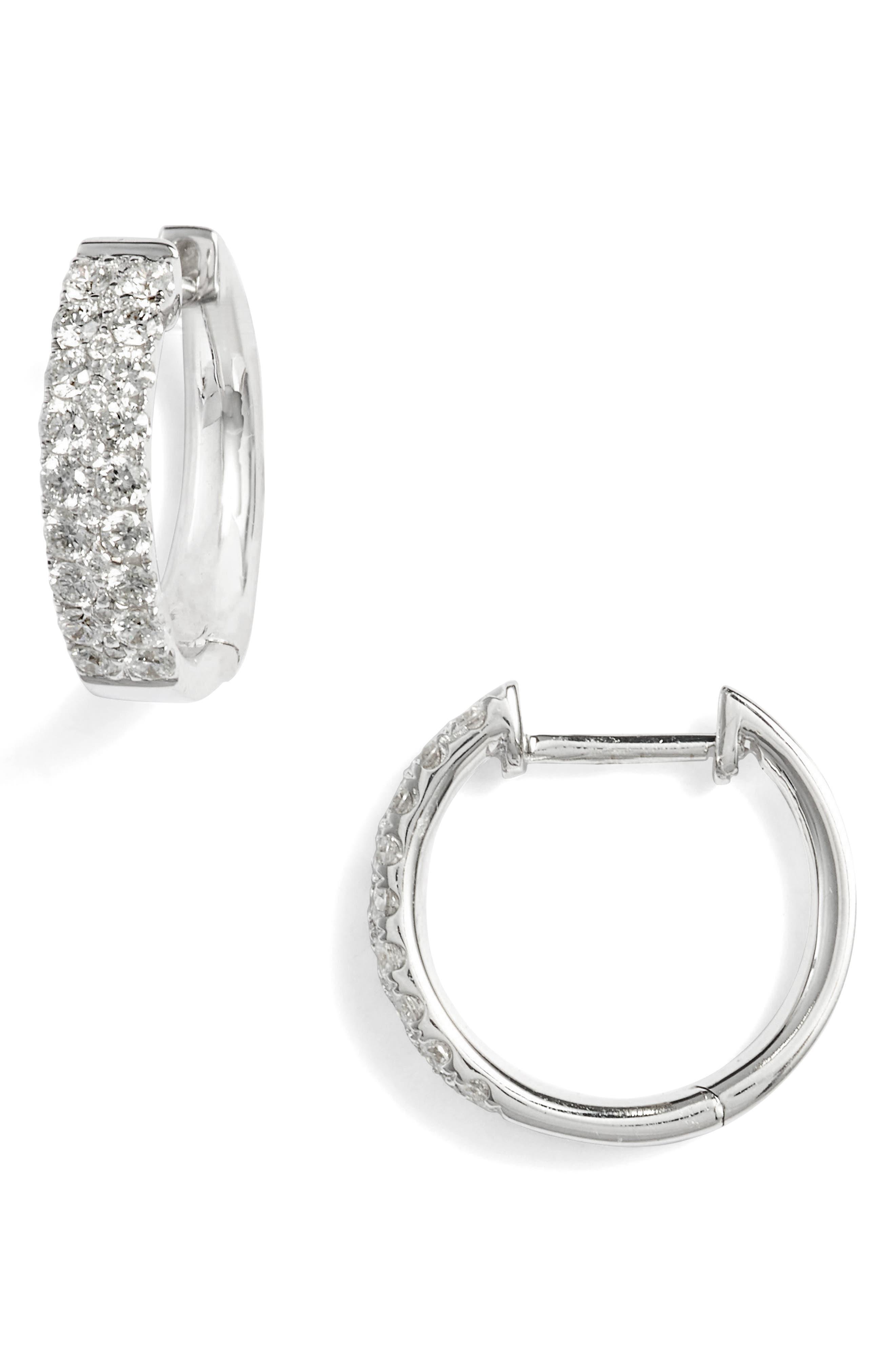 Kiera Small Diamond Hoop Earrings,                         Main,                         color, White Gold