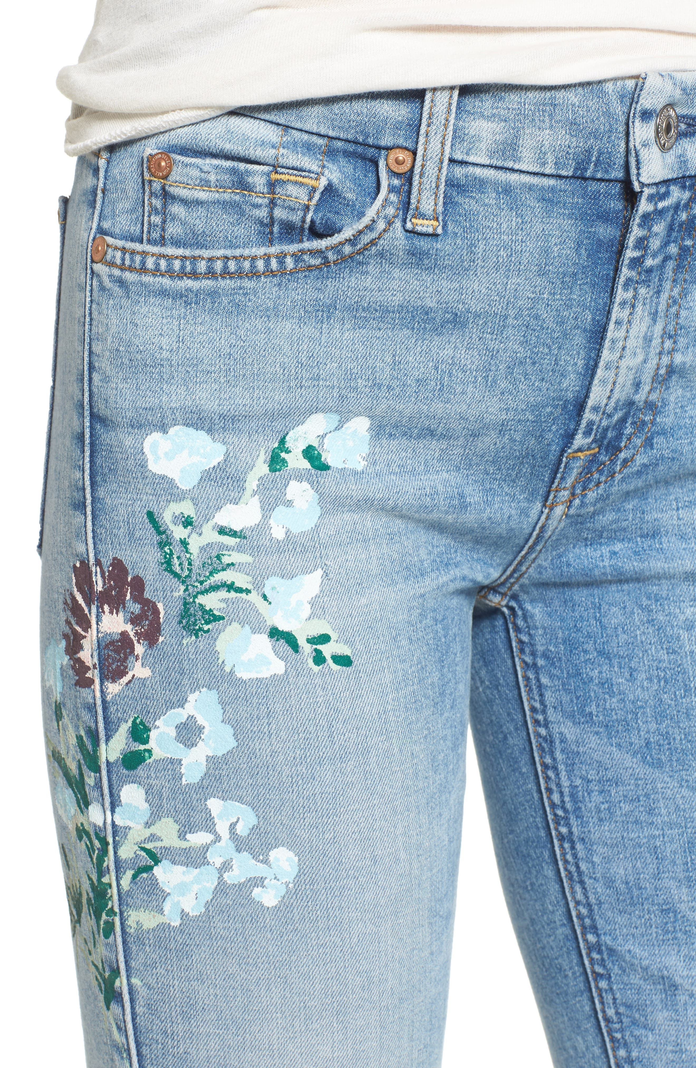 Embellished & Ripped Ankle Skinny Jeans,                             Alternate thumbnail 4, color,                             Radiant Wythe W/ Floral