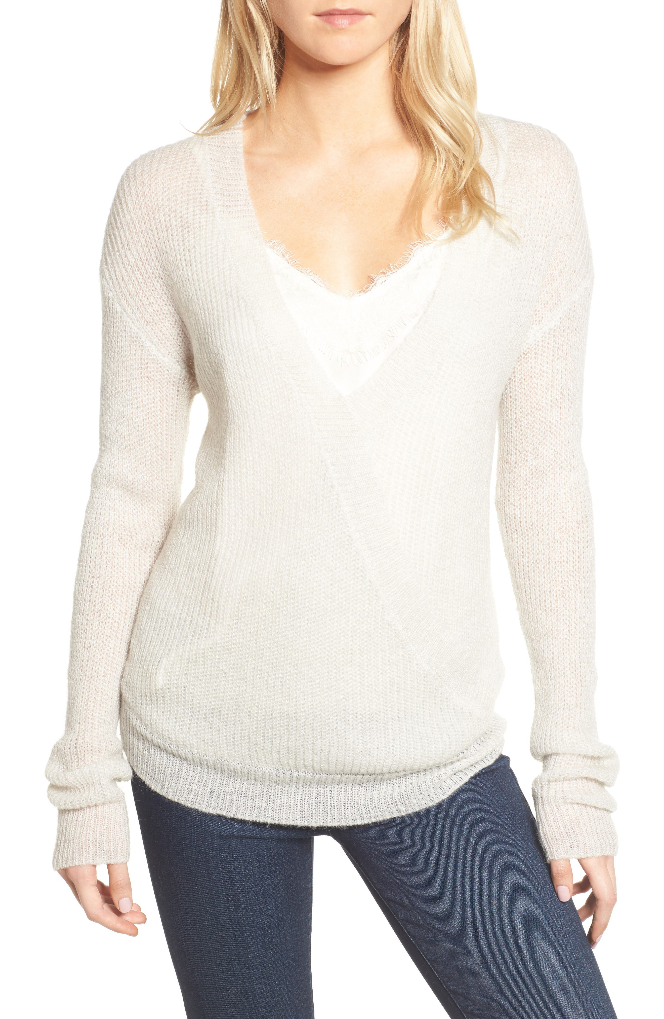 Main Image - cupcakes and cashmere Sternberg V-Neck Sweater