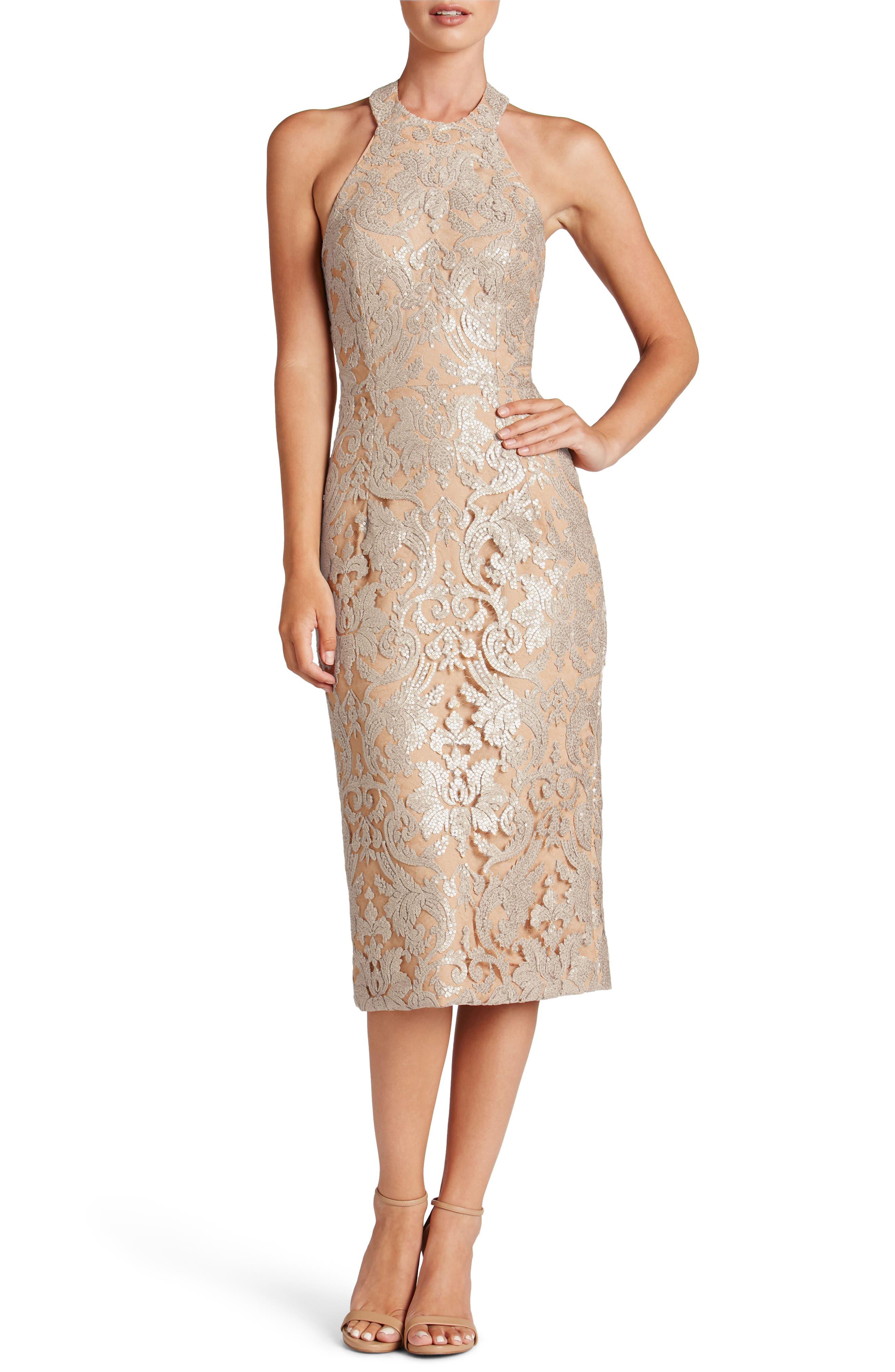 Cassie Sequin Midi Dress,                         Main,                         color, Platinum/ Nude