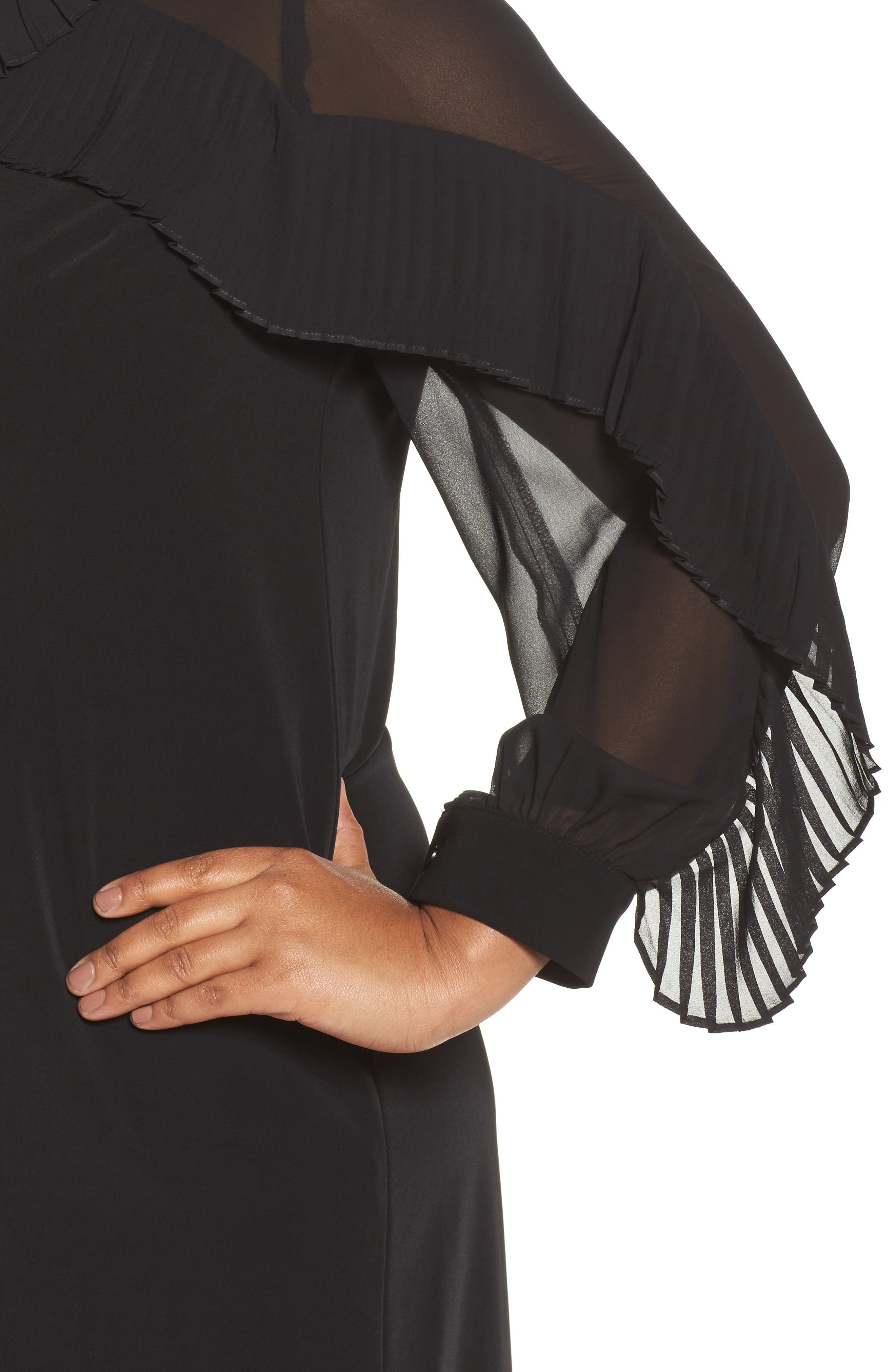 Pleat Ruffle Trim Shift Dress,                             Alternate thumbnail 4, color,                             Black