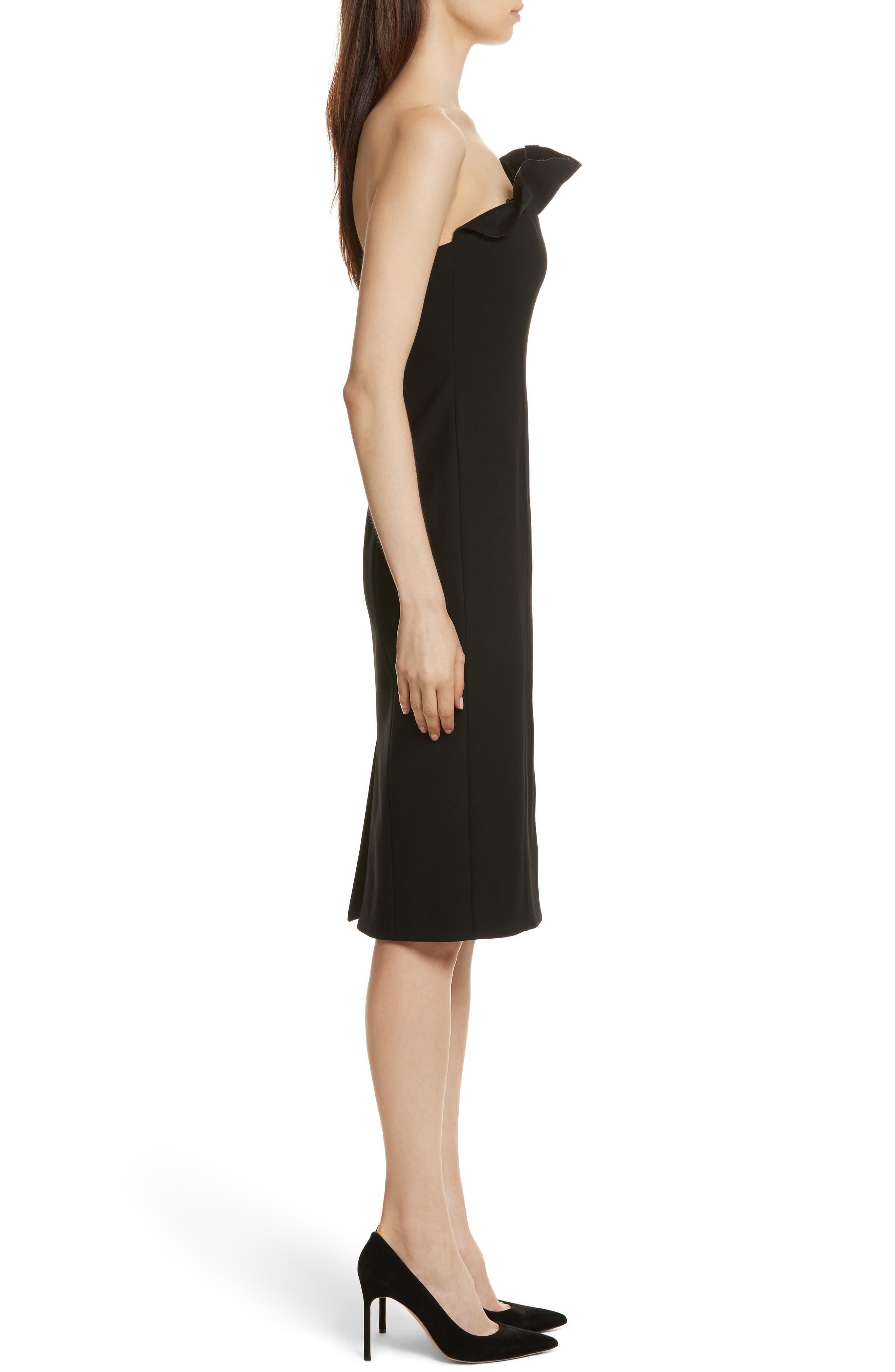 Jolie Marceau Strapless Dress,                             Alternate thumbnail 3, color,                             Black