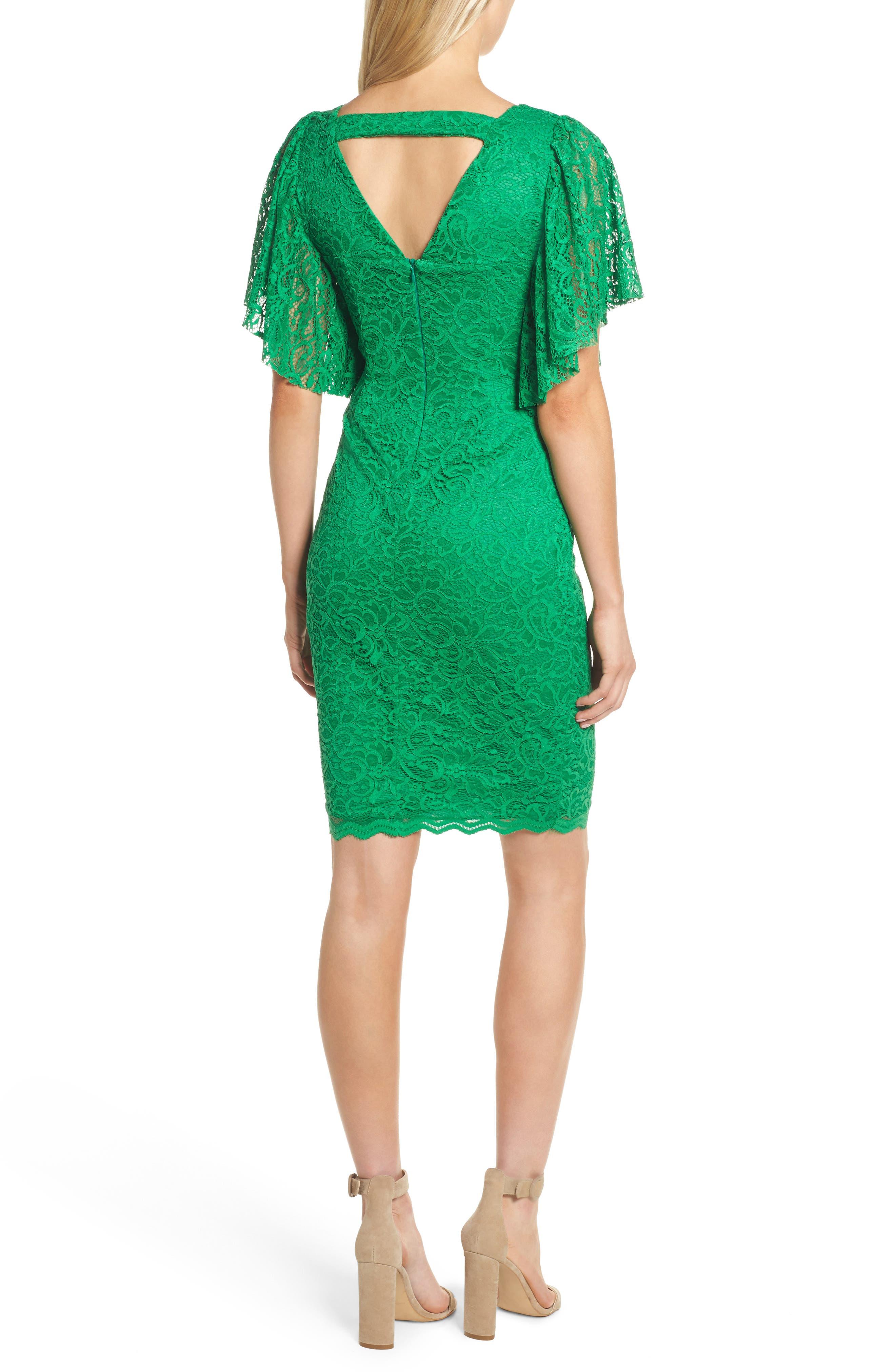 Lace Sheath Dress,                             Alternate thumbnail 2, color,                             Kelly Green