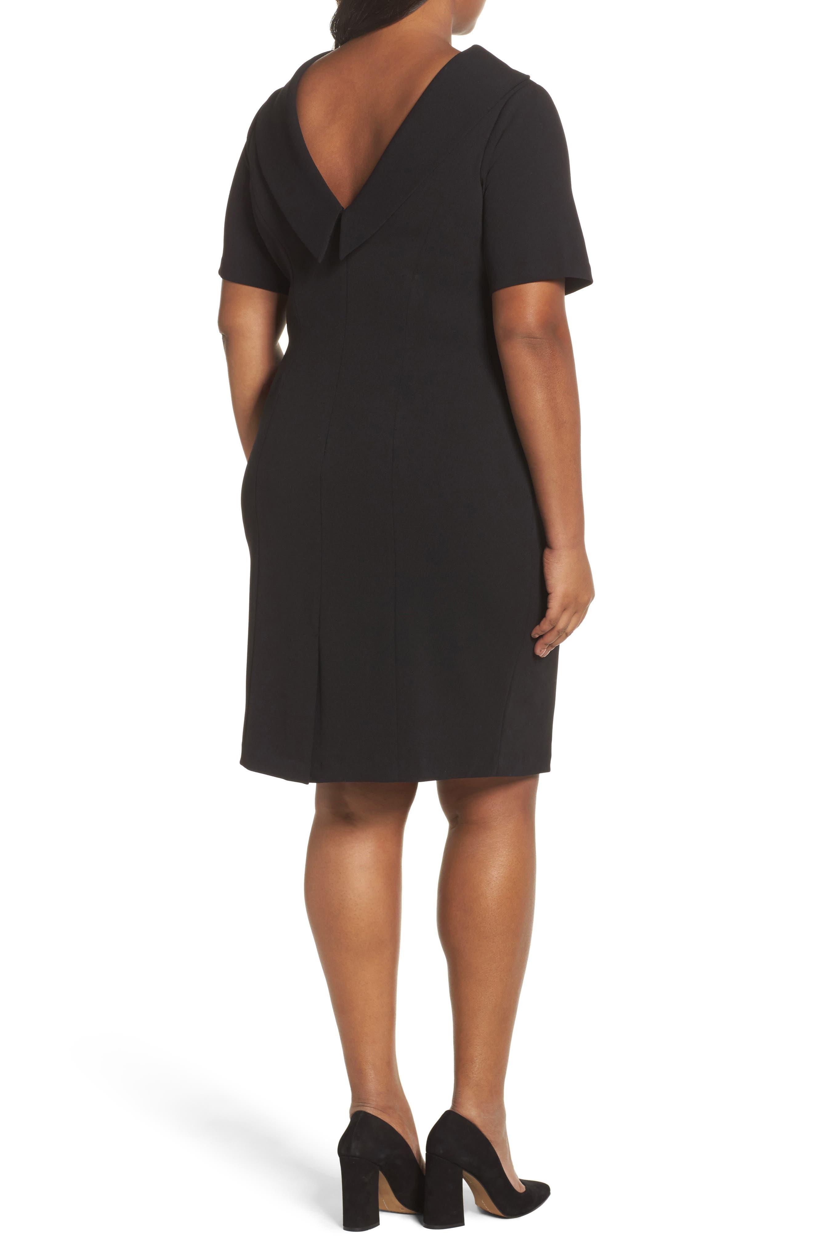 V-Back Sheath Dress,                             Alternate thumbnail 2, color,                             Black