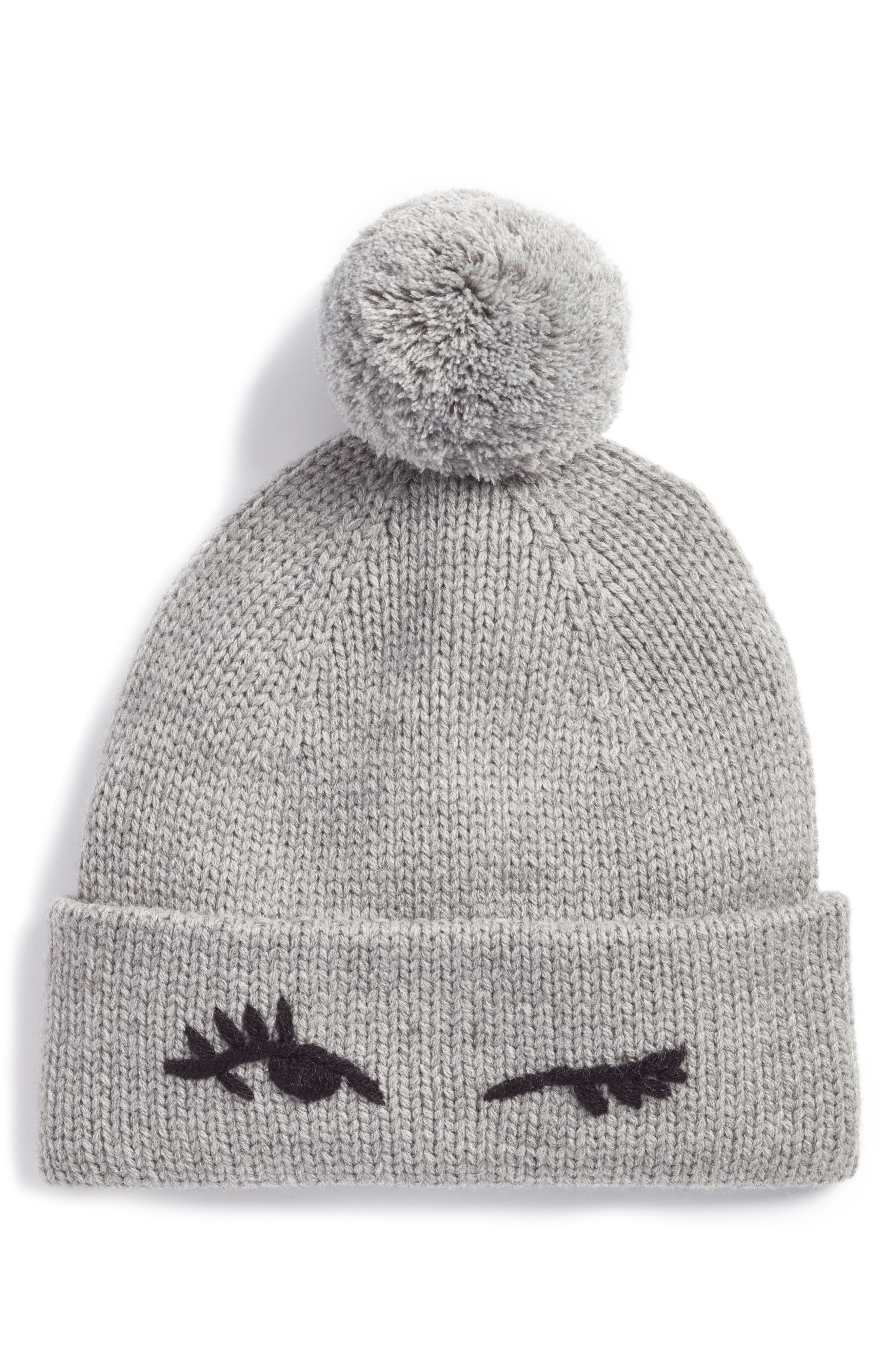 kate spade new york winking beanie with pom