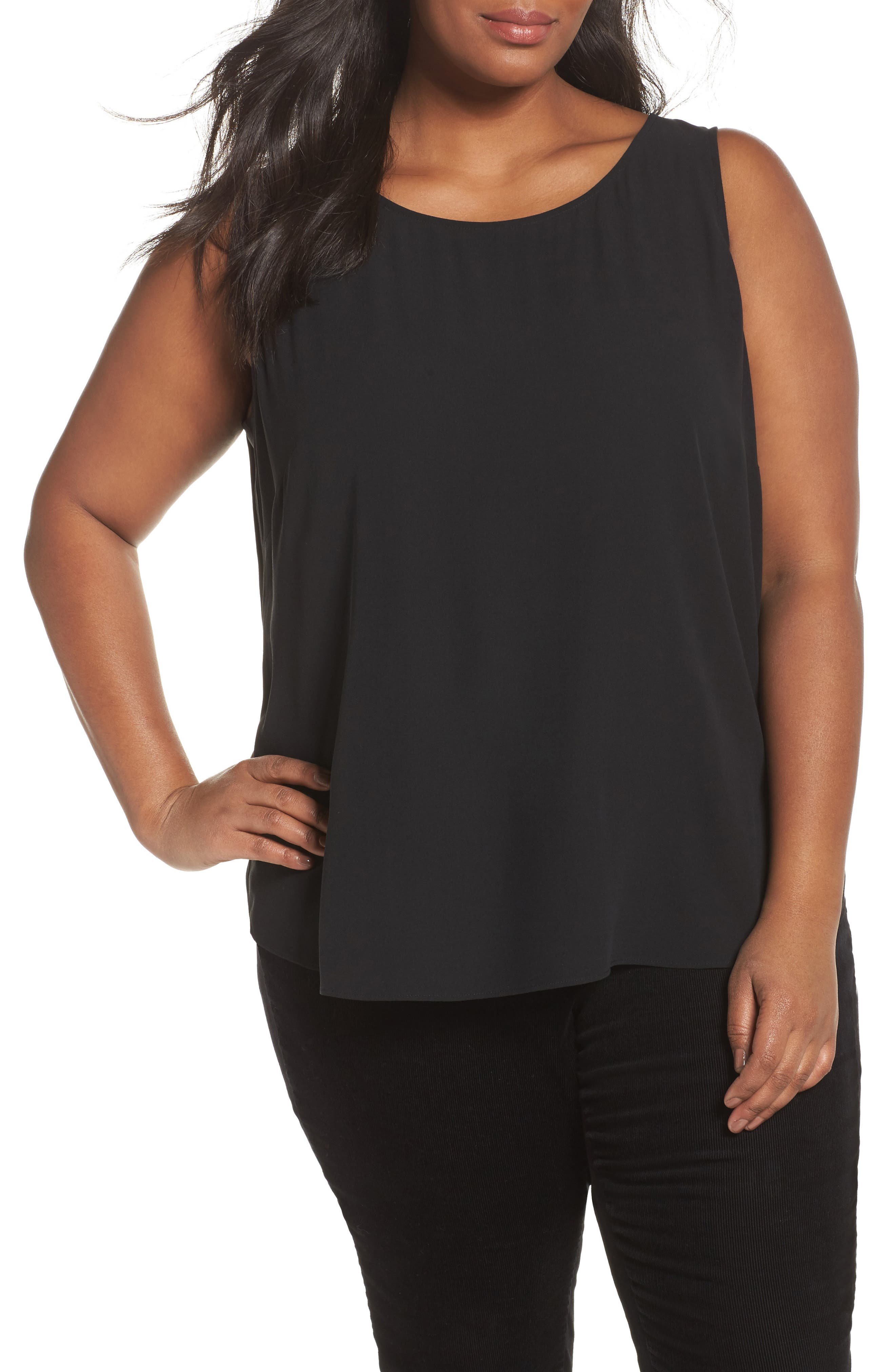 Alternate Image 1 Selected - Eileen Fisher Silk Tank (Plus Size)