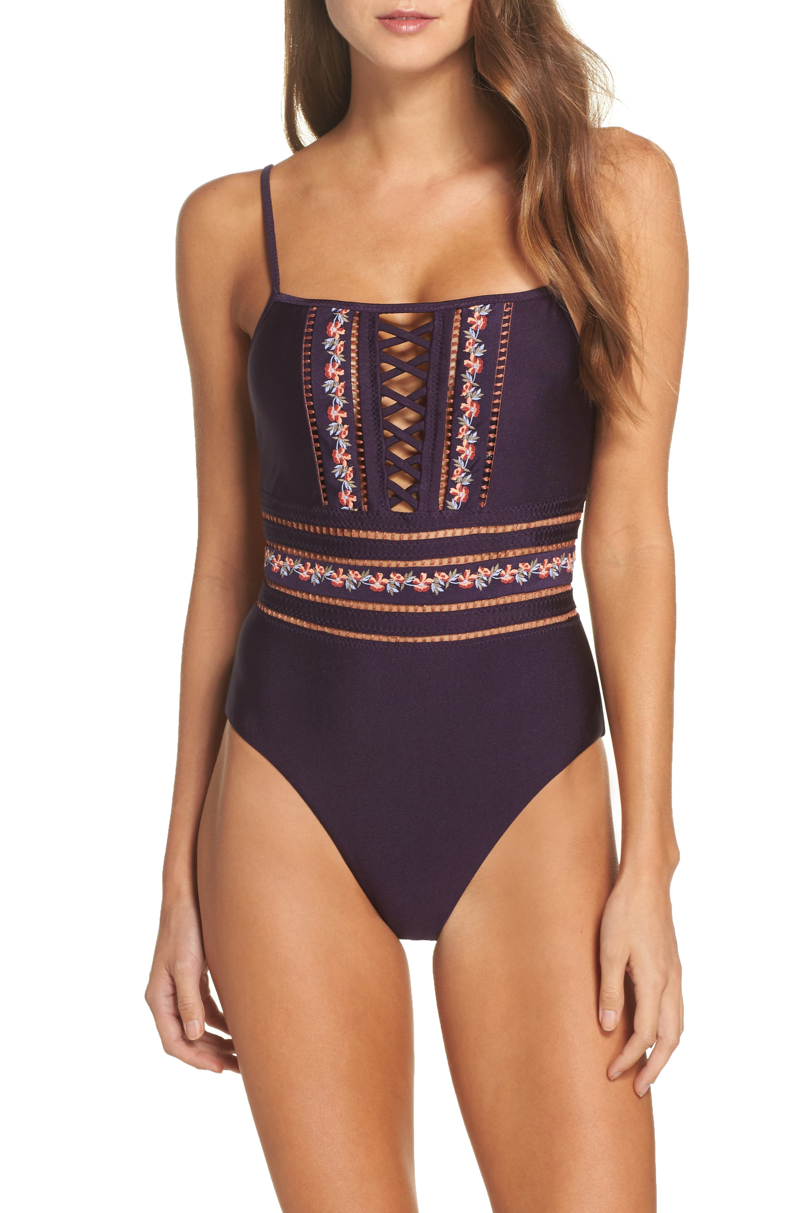 In the Mix One-Piece Swimsuit,                             Main thumbnail 1, color,                             Plum