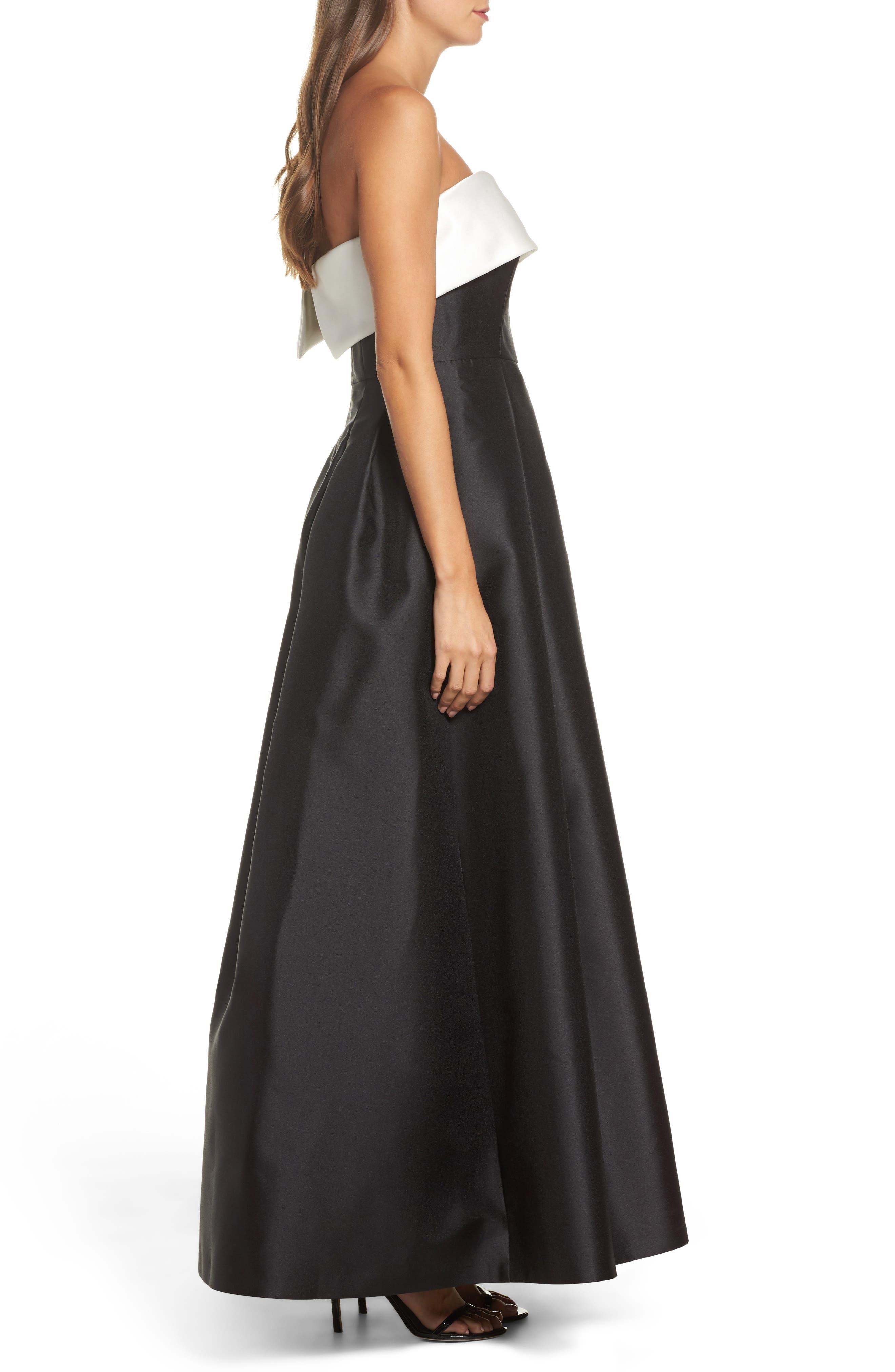 Strapless Gown,                             Alternate thumbnail 3, color,                             Ivory Black