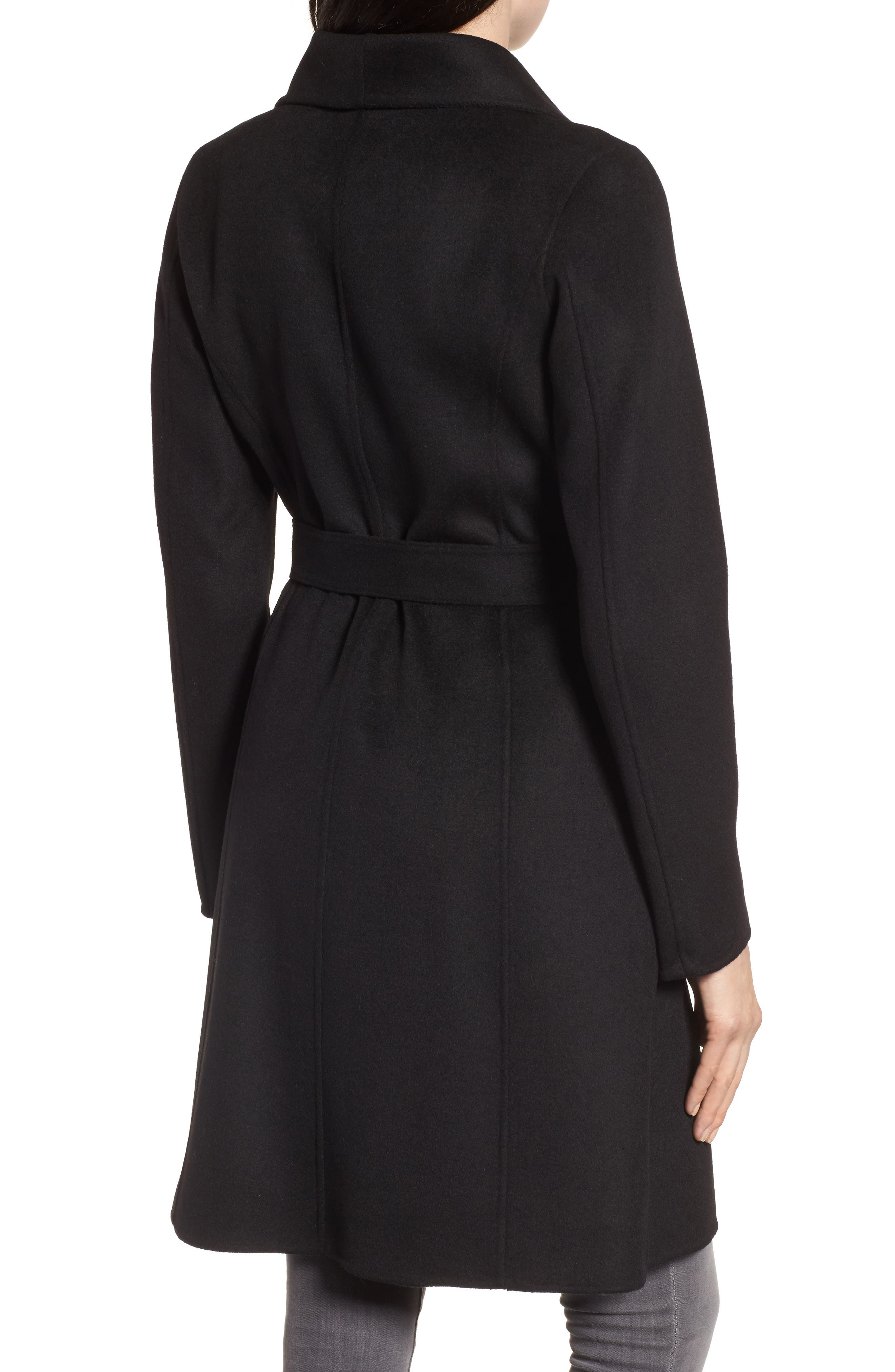 Ellie Double Face Wool Blend Wrap Coat,                             Alternate thumbnail 2, color,                             Black