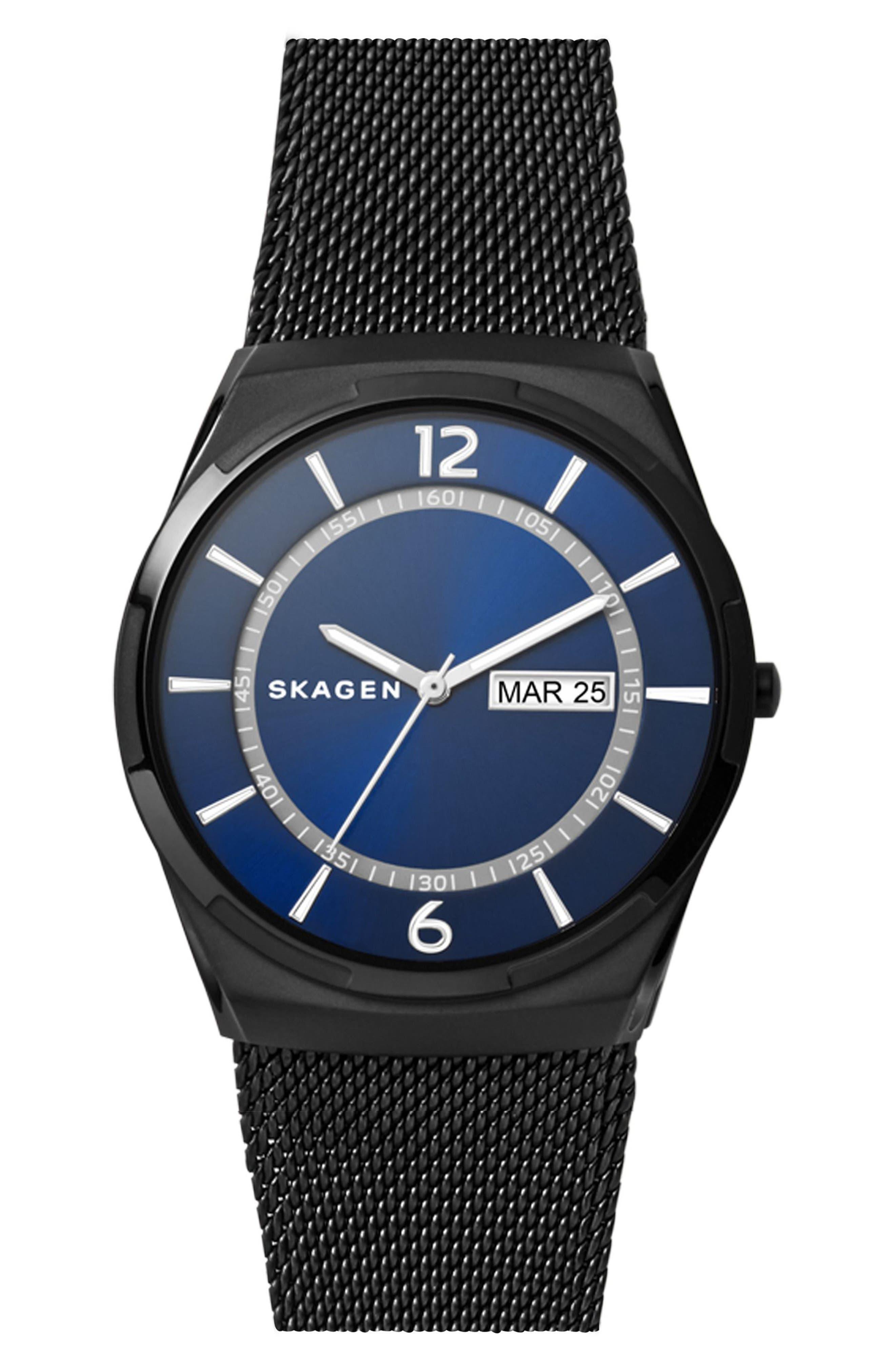 Skagen Melbye Round Mesh Strap Watch, 40mm x 46mm