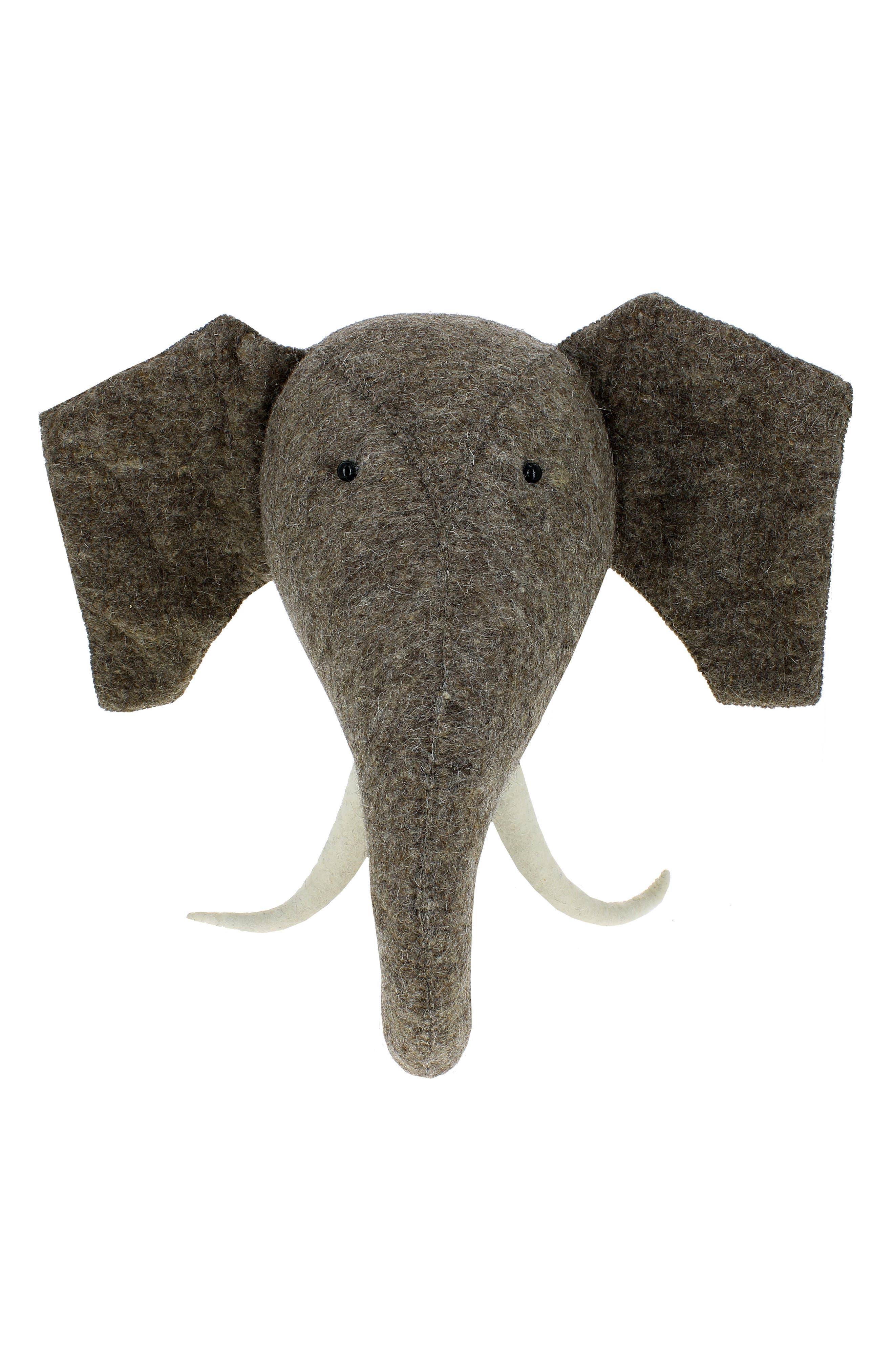 Elephant Head with Tusks Wall Art,                             Main thumbnail 1, color,                             Grey