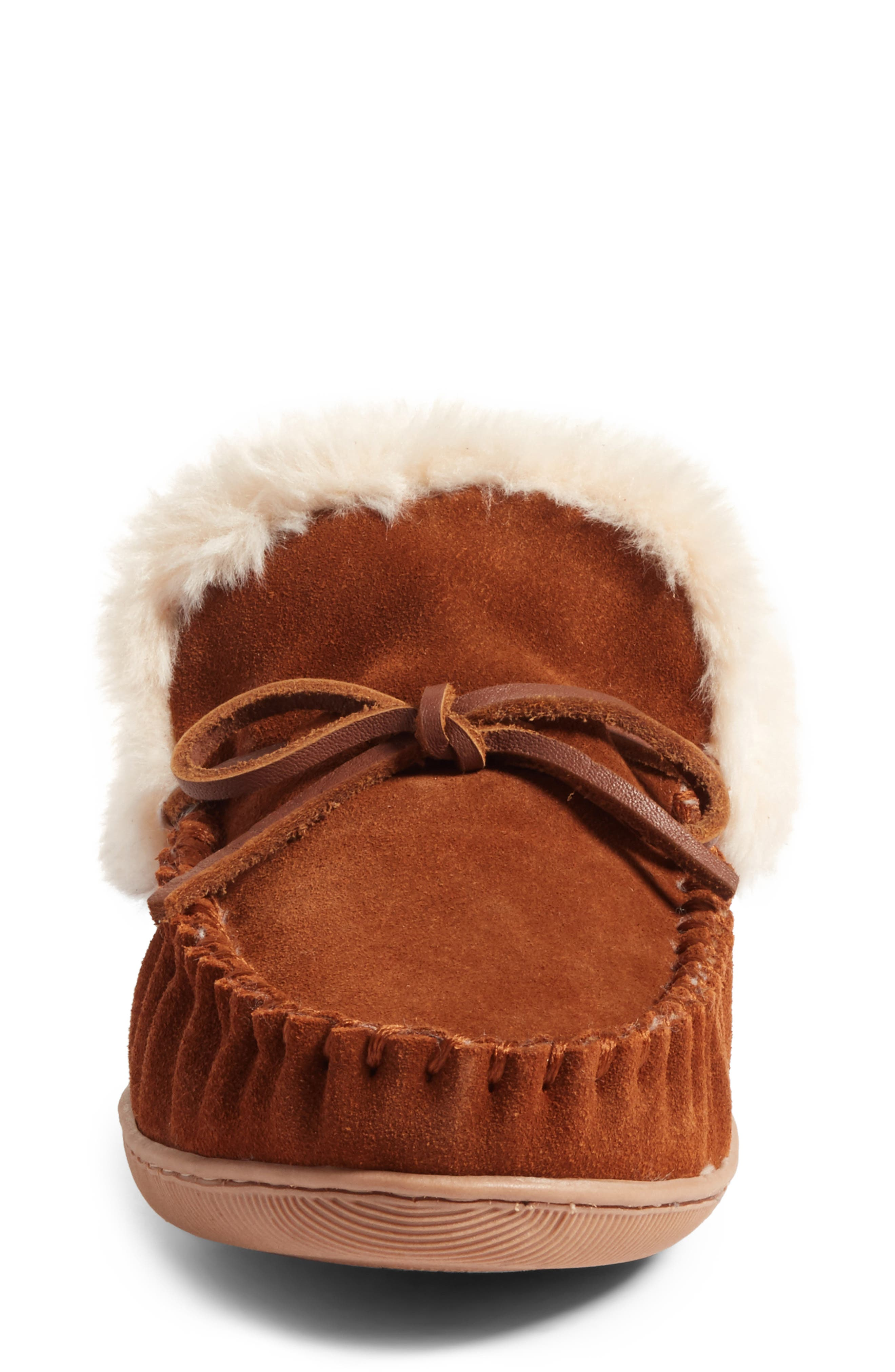 J.Crew Lodge Faux Shearling Moc Slipper,                             Alternate thumbnail 5, color,                             Dark Nutmeg Suede