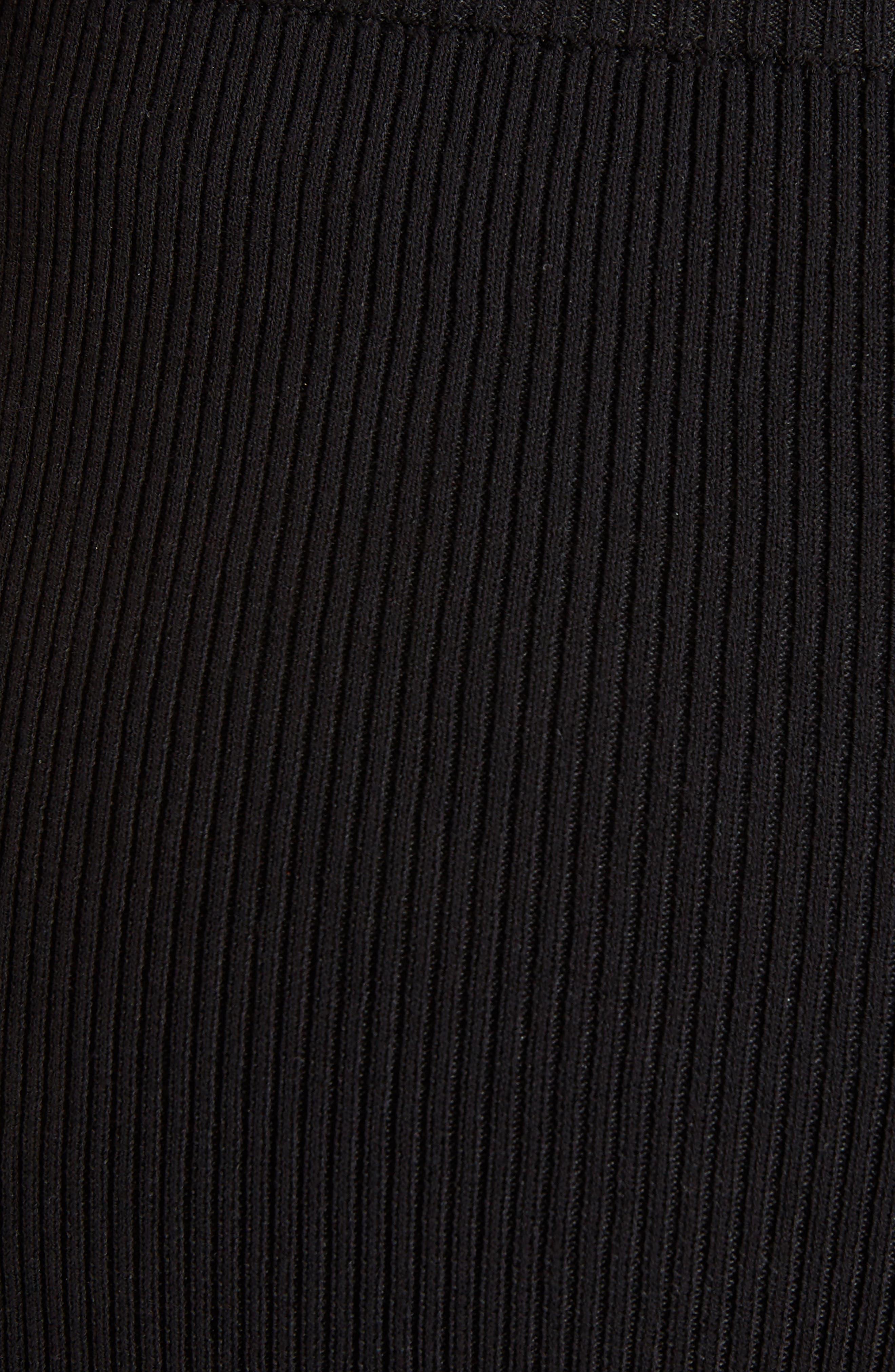 Stretch Knit Midi Skirt,                             Alternate thumbnail 5, color,                             Black