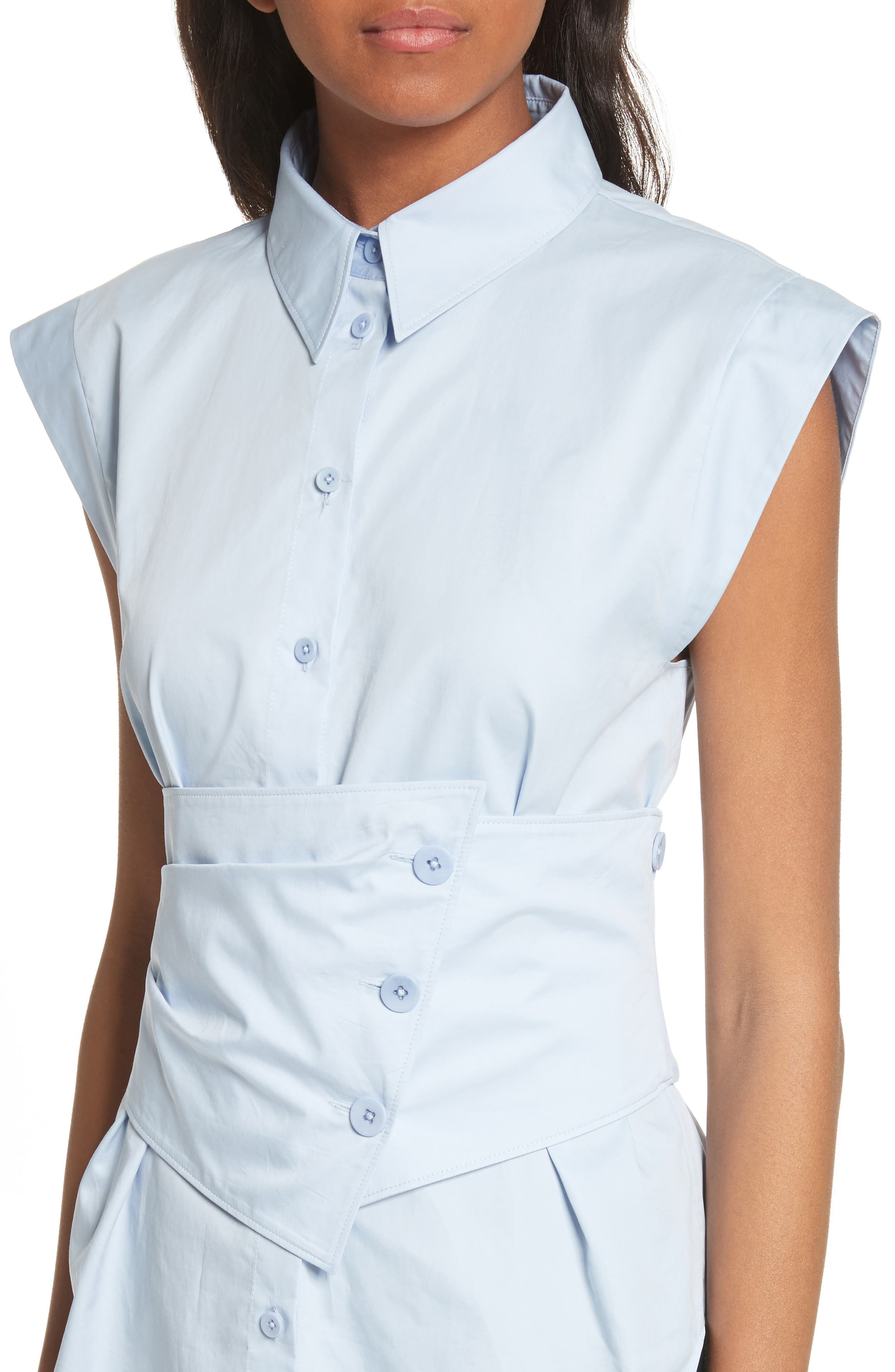 Cap Sleeve Corset Shirt,                             Alternate thumbnail 4, color,                             Morning Blue