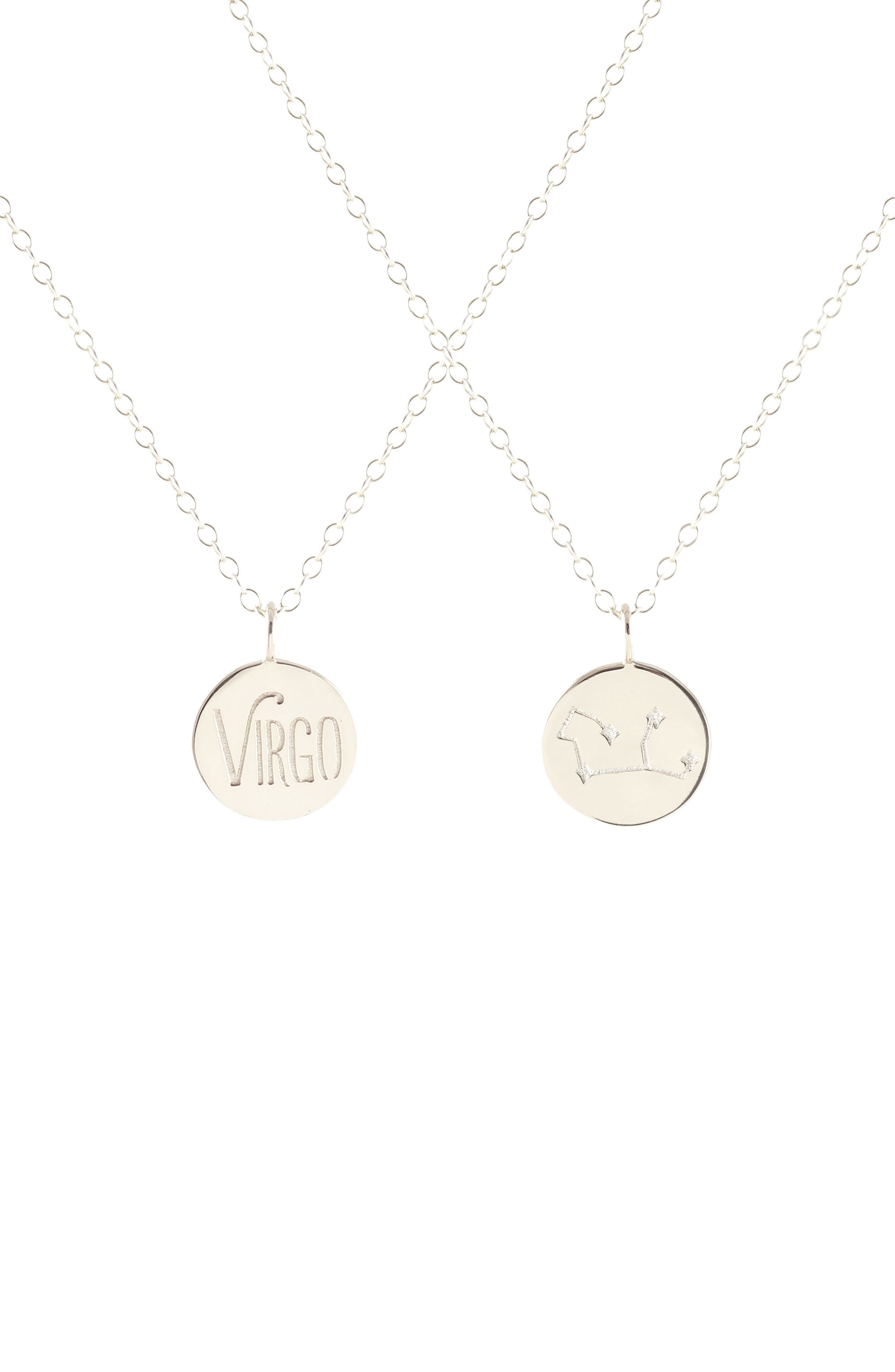 Zodiac Charm Necklace,                             Main thumbnail 1, color,                             Virgo - Silver